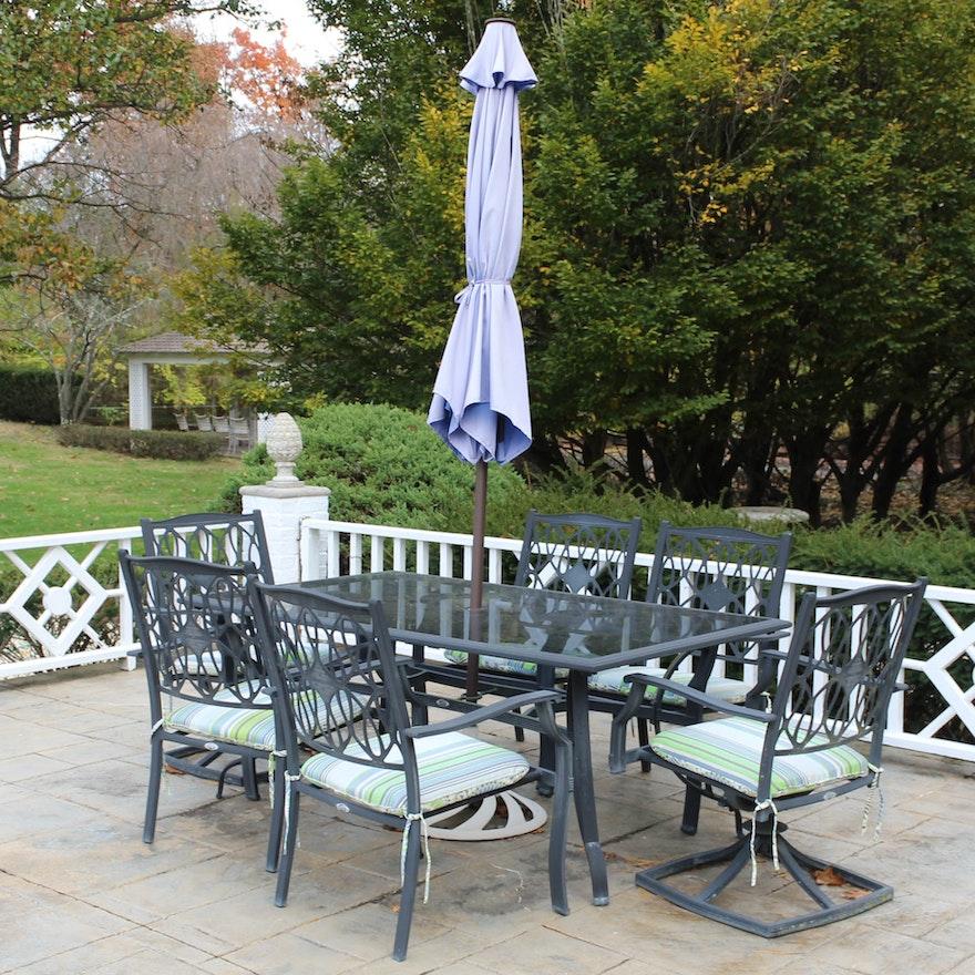 Hampton Bay Outdoor Furniture Set With Glass Top Table Ebth