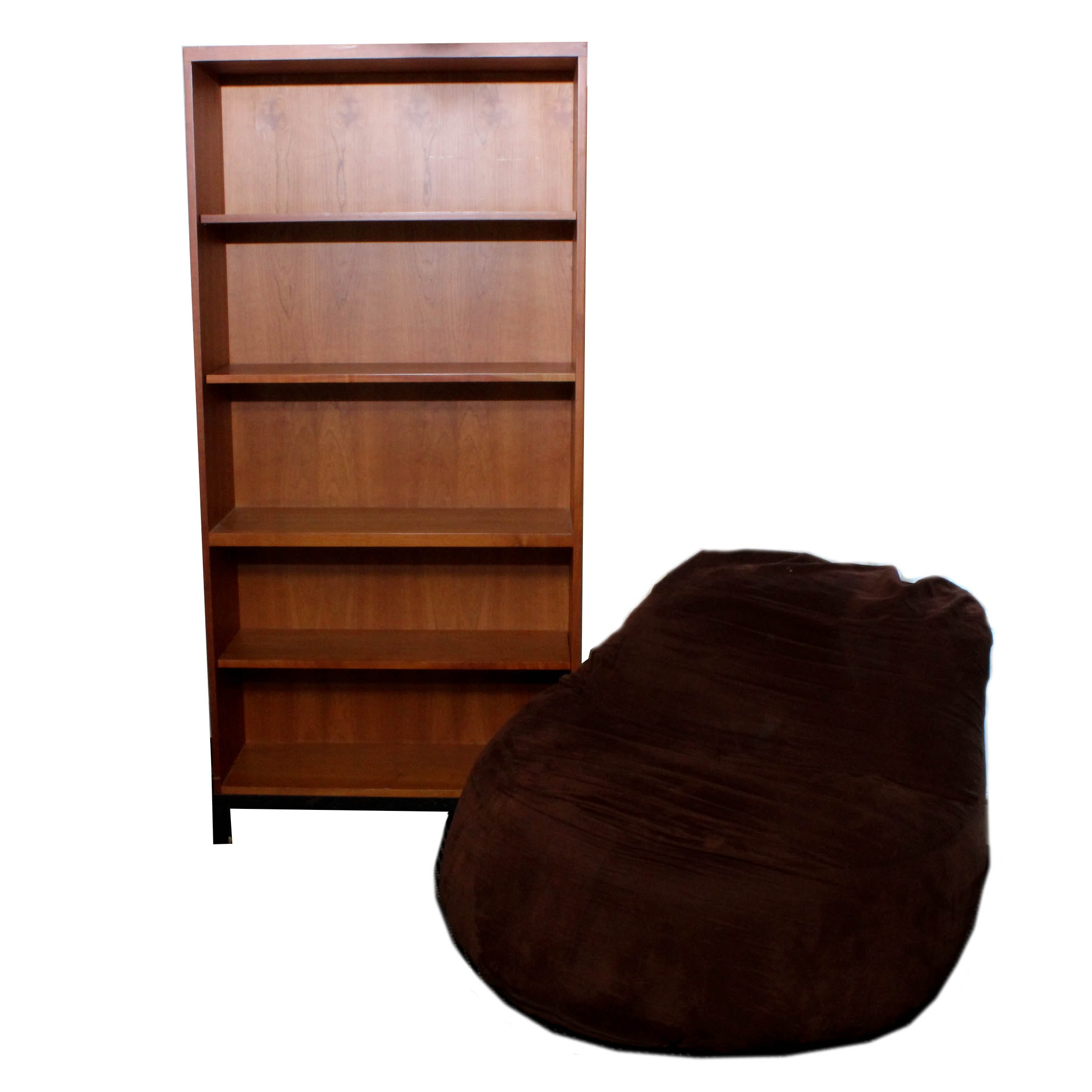 Sleep Inovations Chair with Contemporary Hardwood Veneer Bookcase