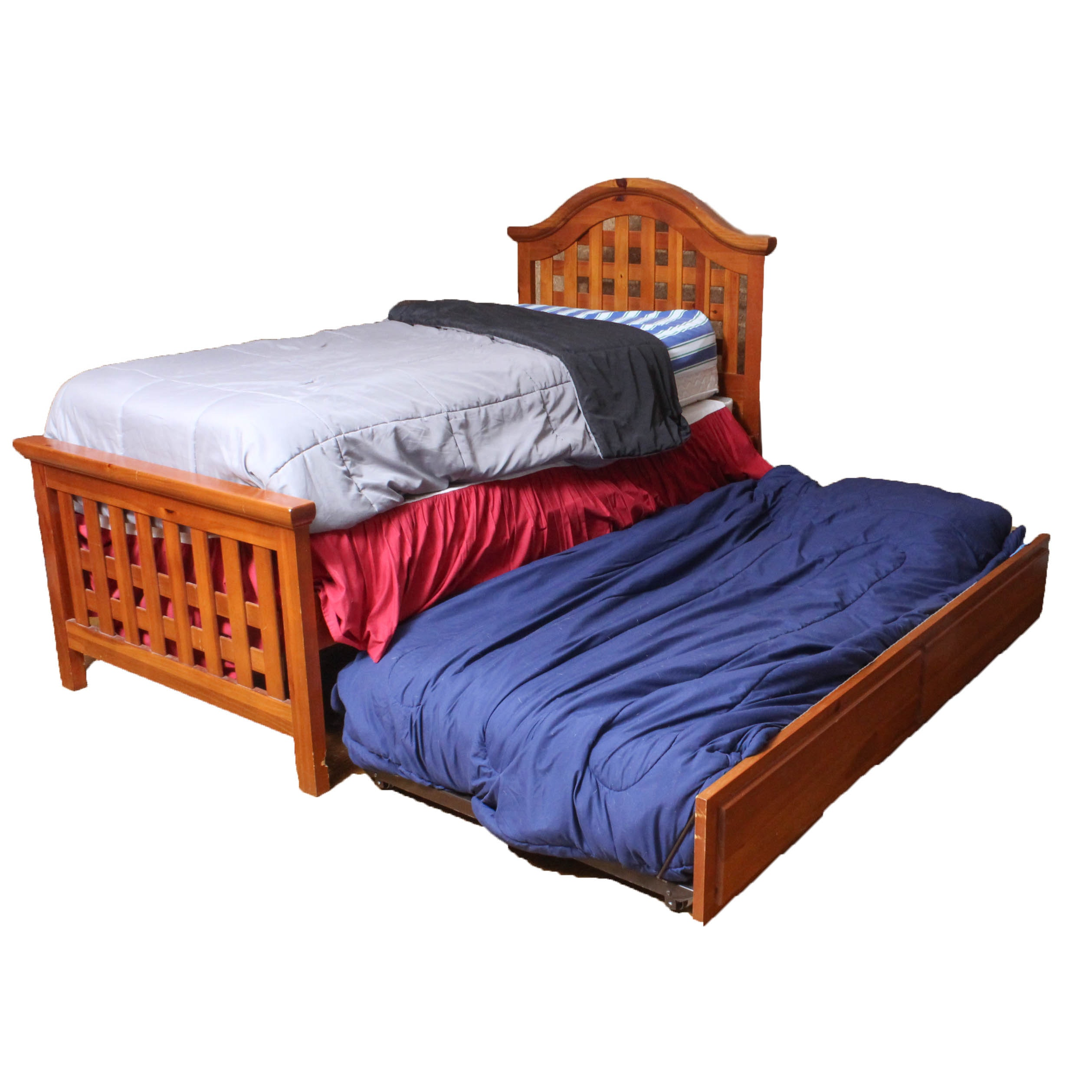 Pine Twin Trundle Bed with Lattice Headboard