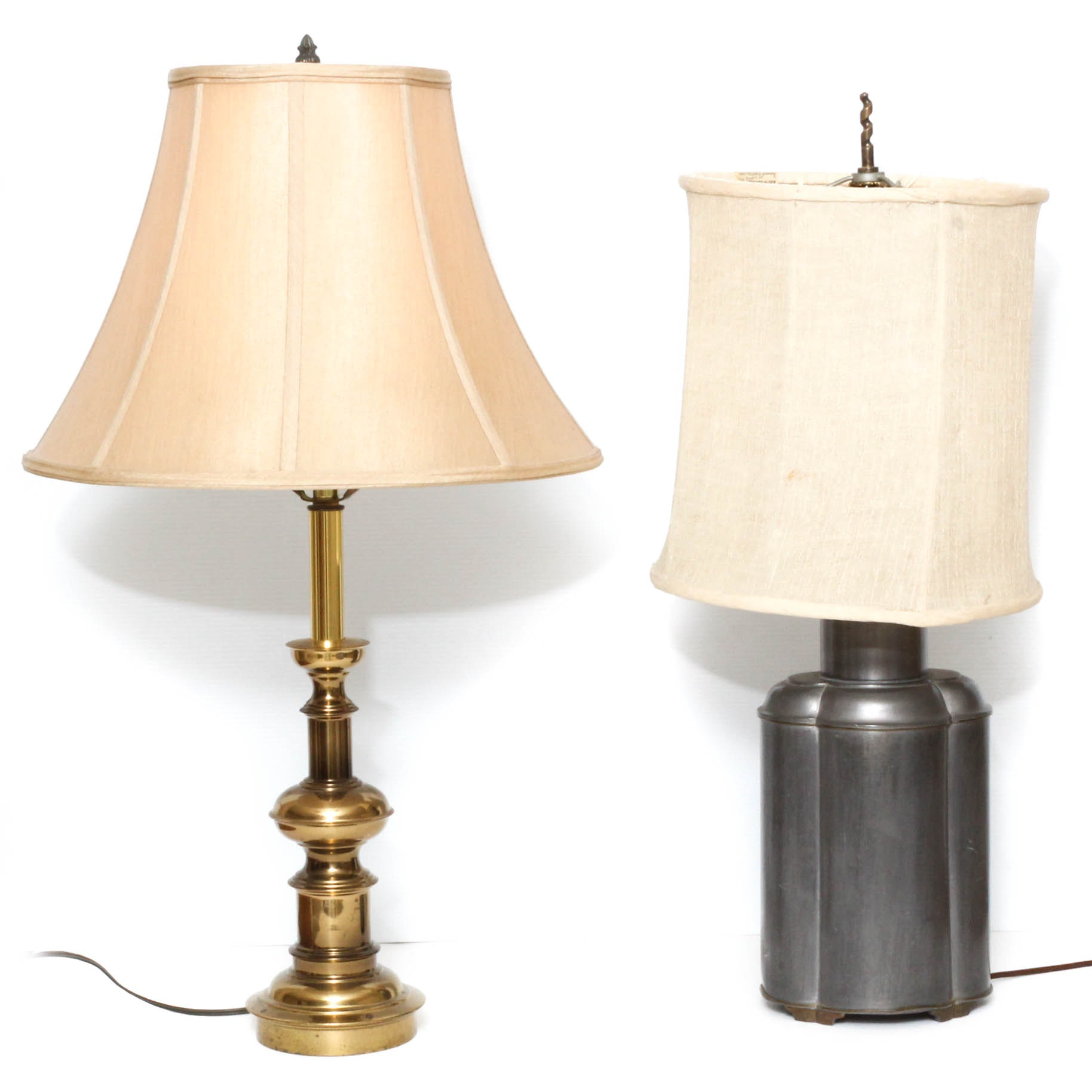 Brass and Pewter Tone Table Lamps