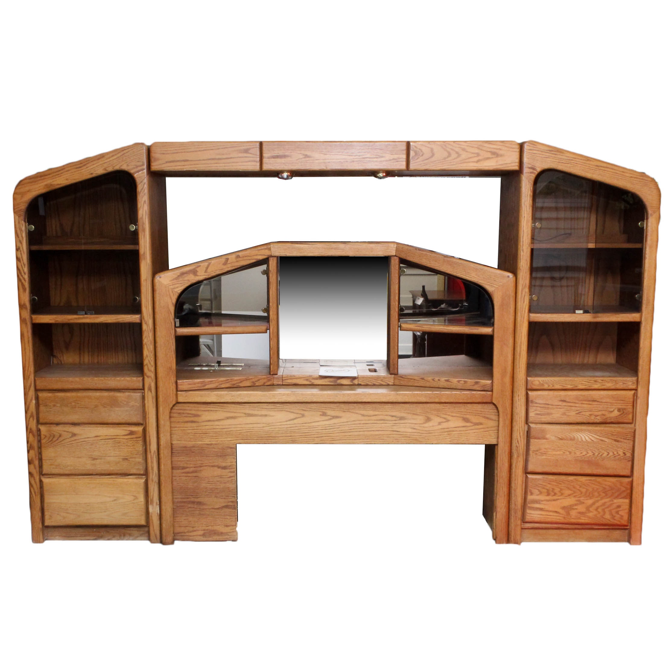 Oak Queen Size Headboard with Storage by Arbek, Late 20th Century