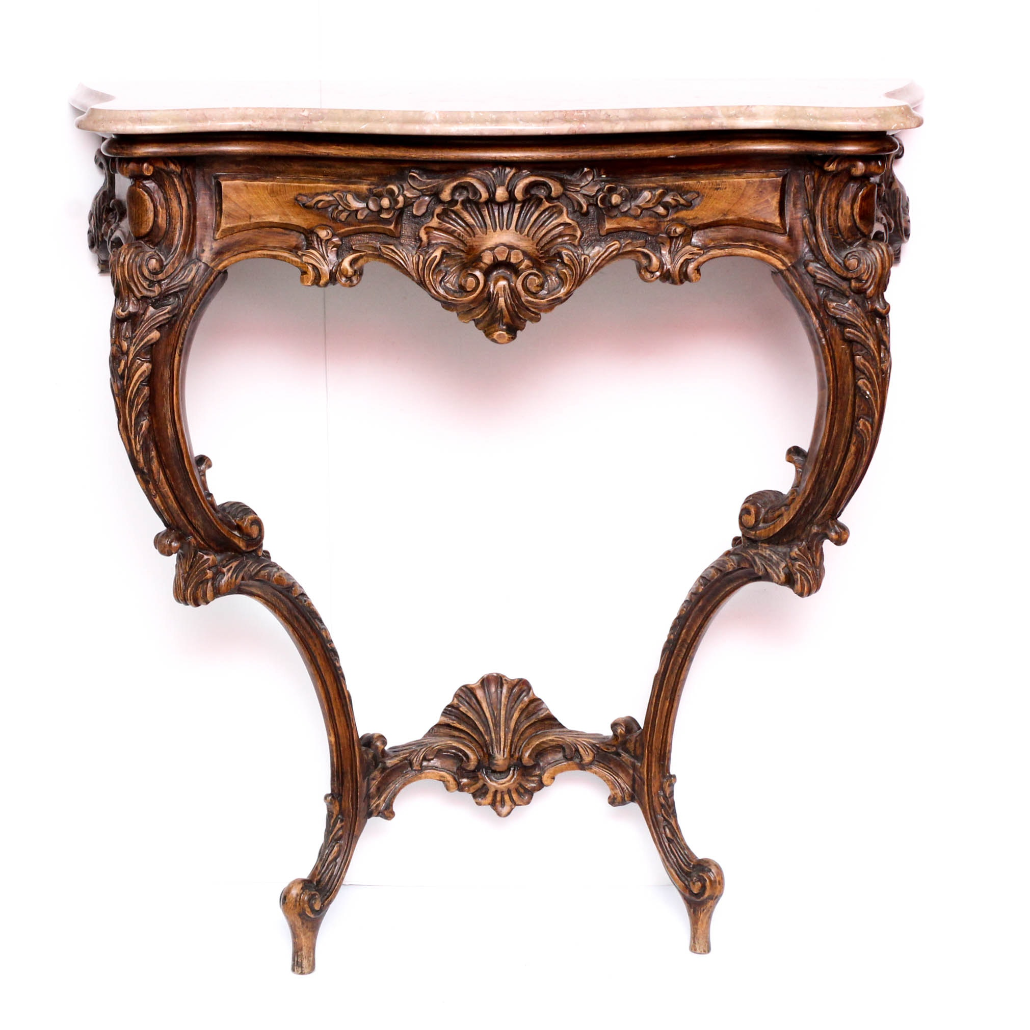 French Provincial Style Marble Top Demilune Hall Table