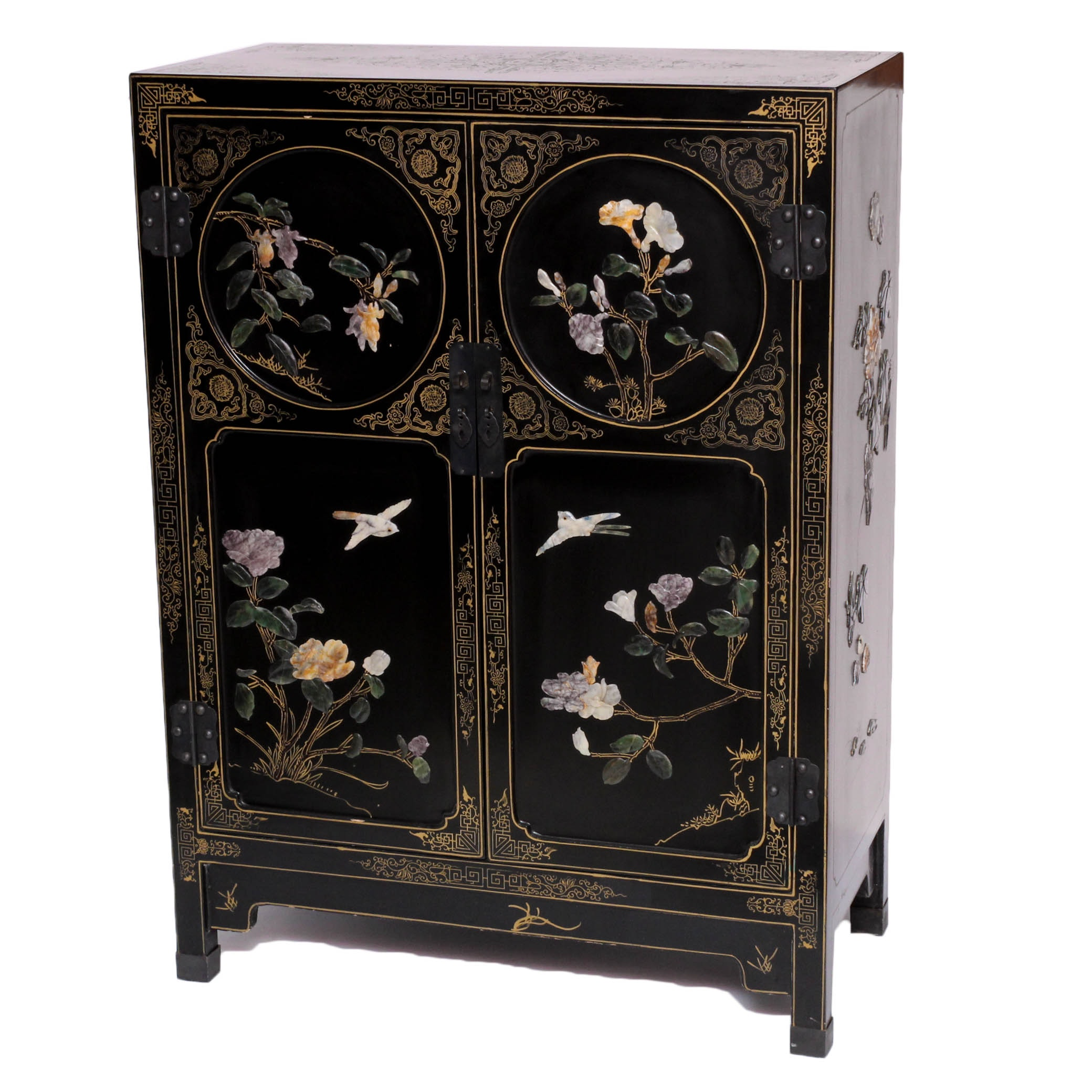 Chinese Lacquered Cabinet with Carved Stone Accents by Jinlong
