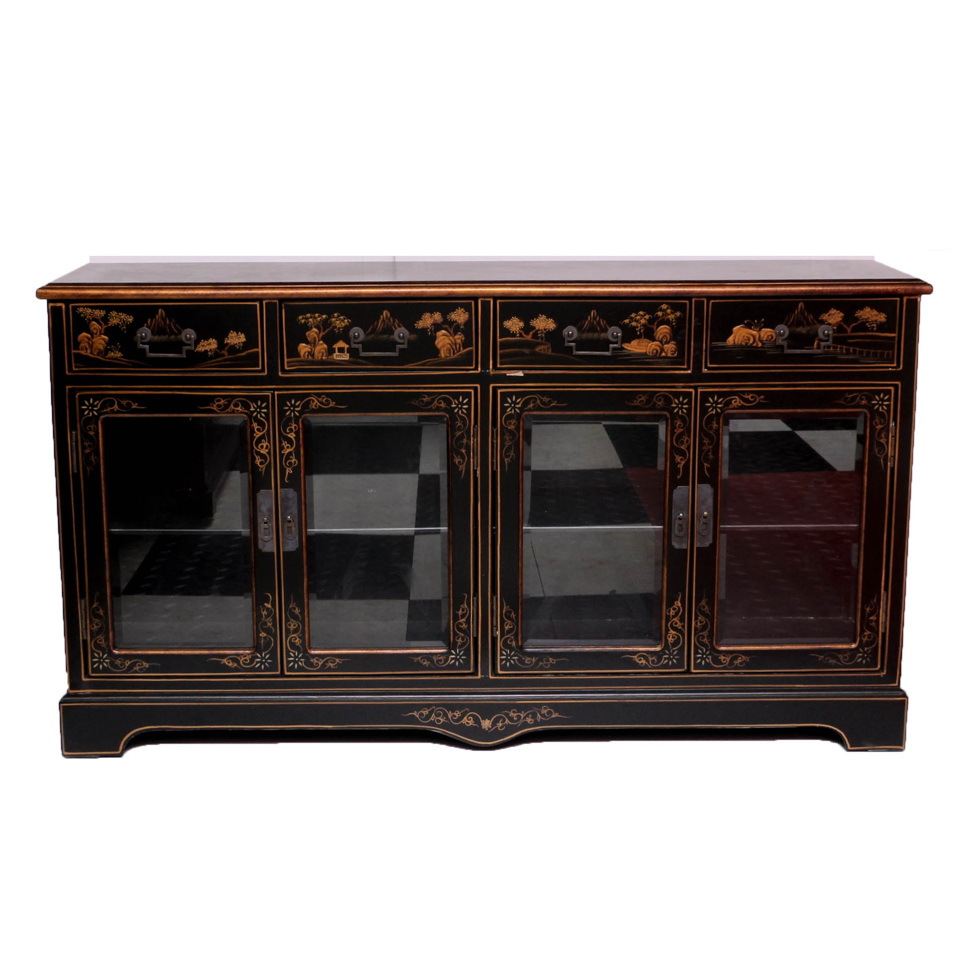 Hand-Painted Chinoiserie Sideboard, Late 20th Century