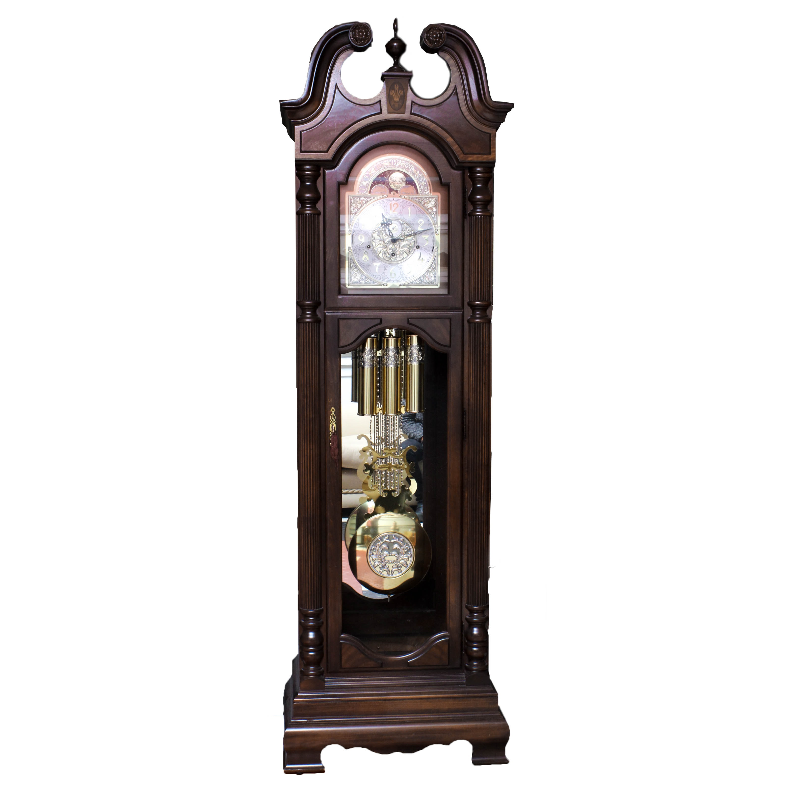 Limited Edition Grandfather Clock in Cherry with Mahogany Inlay by Howard Miller