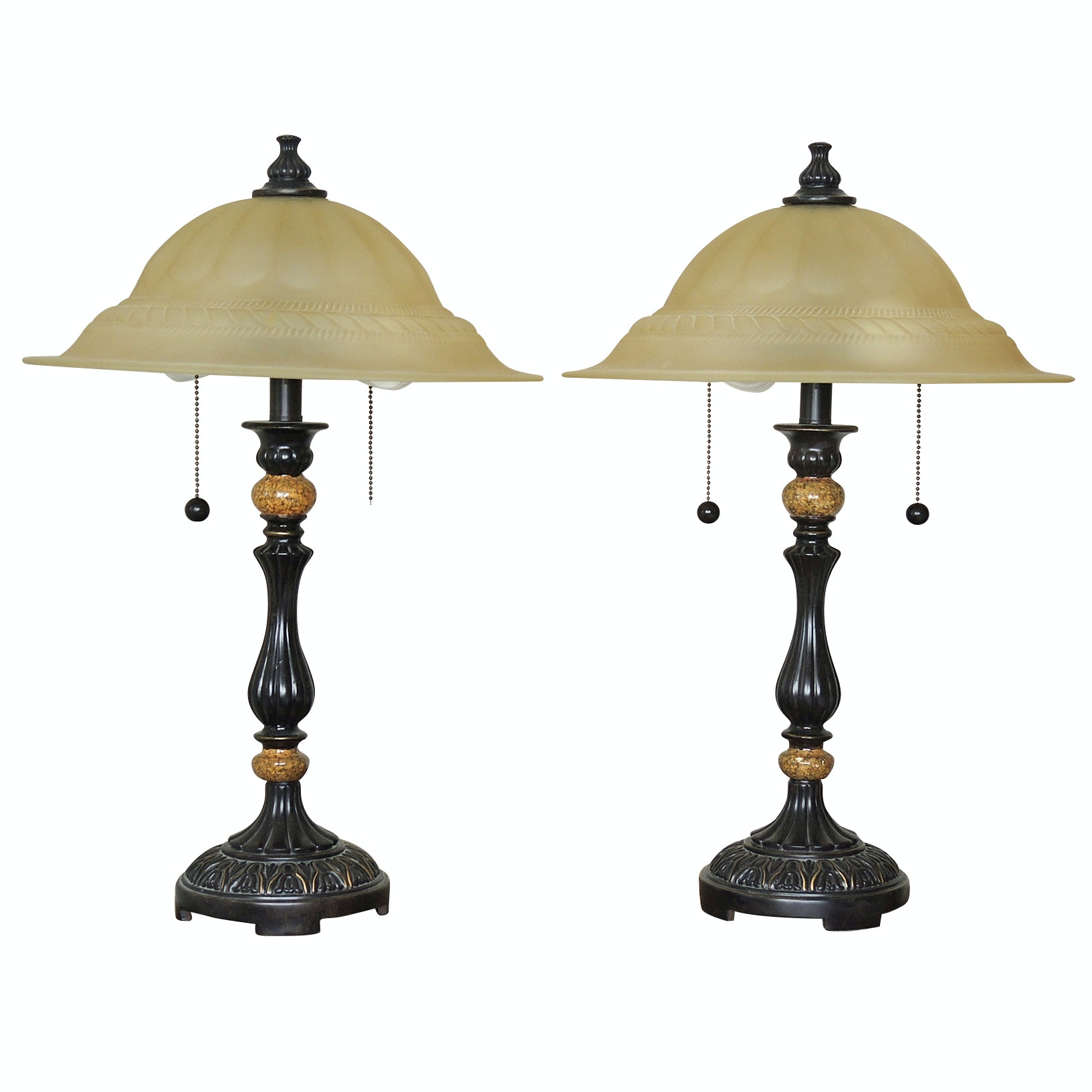 Table Lamps with Glass Shades and Faux Stone Accents