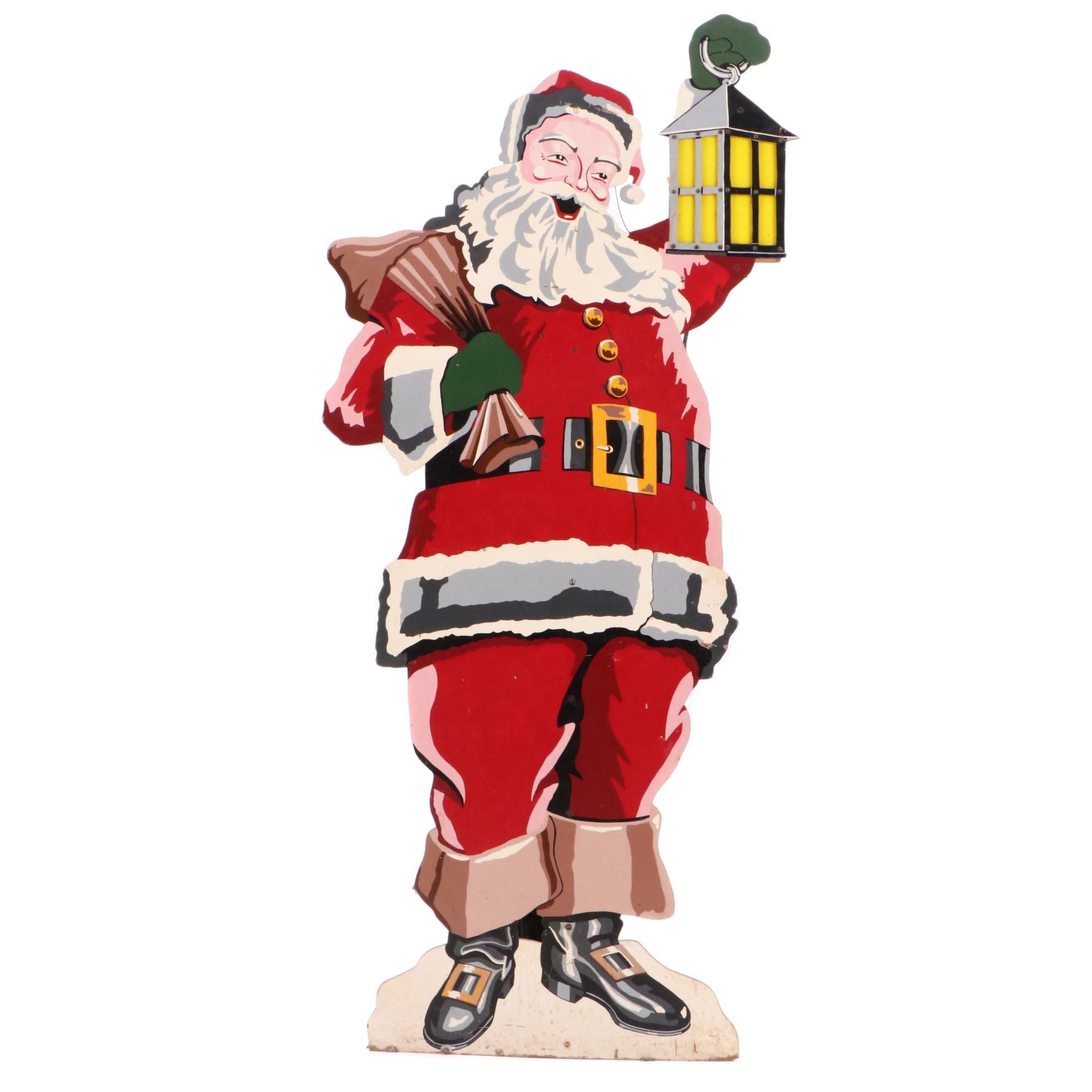 Vintage Lighted Particle Board Santa