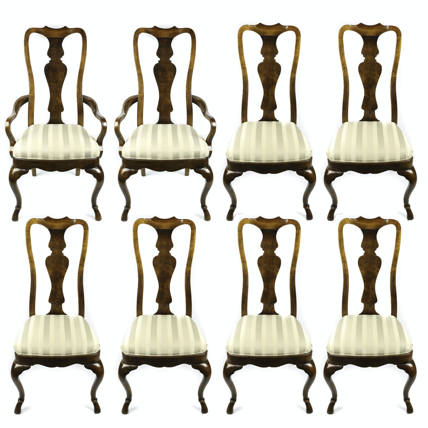 Federal Style Cherry Upholstered Dining Chairs by Drexel, 20th Century