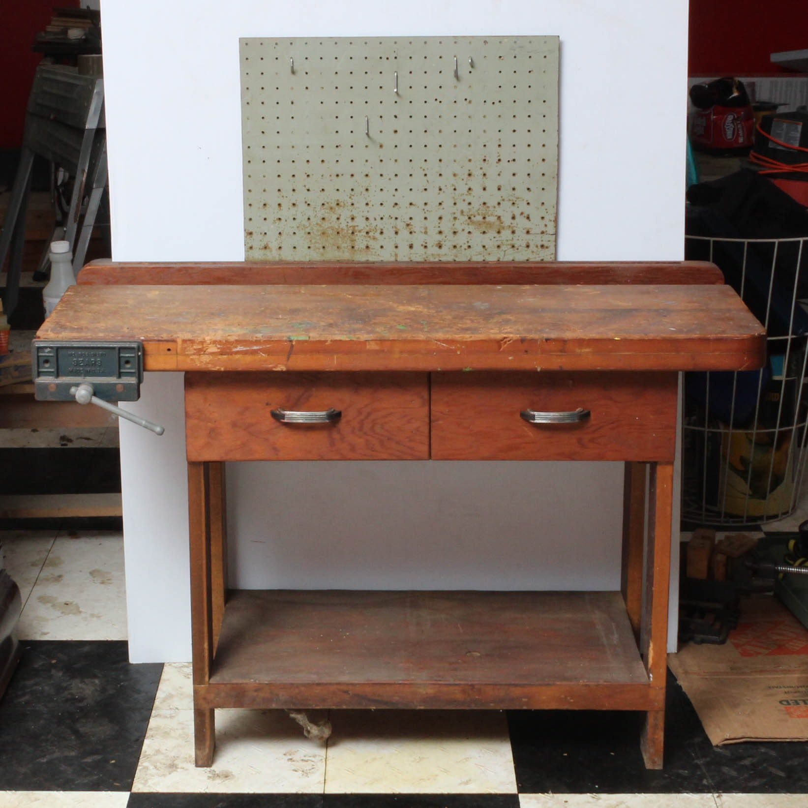 Children's Height Pine Work Bench with Peg Board and Vice