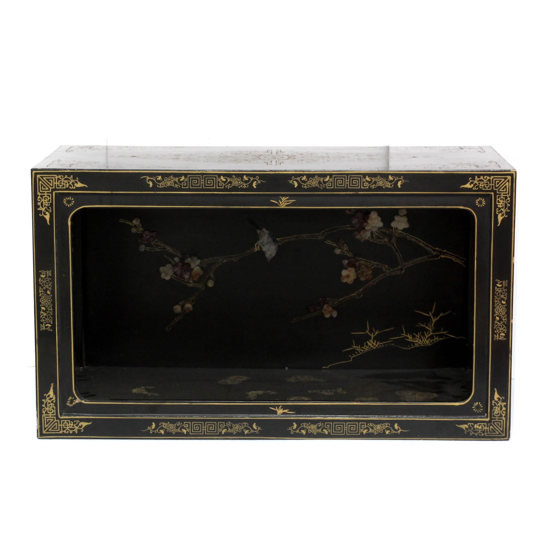 Chinese Hand-Painted Bench with Carved Stone Accents by Jinlong