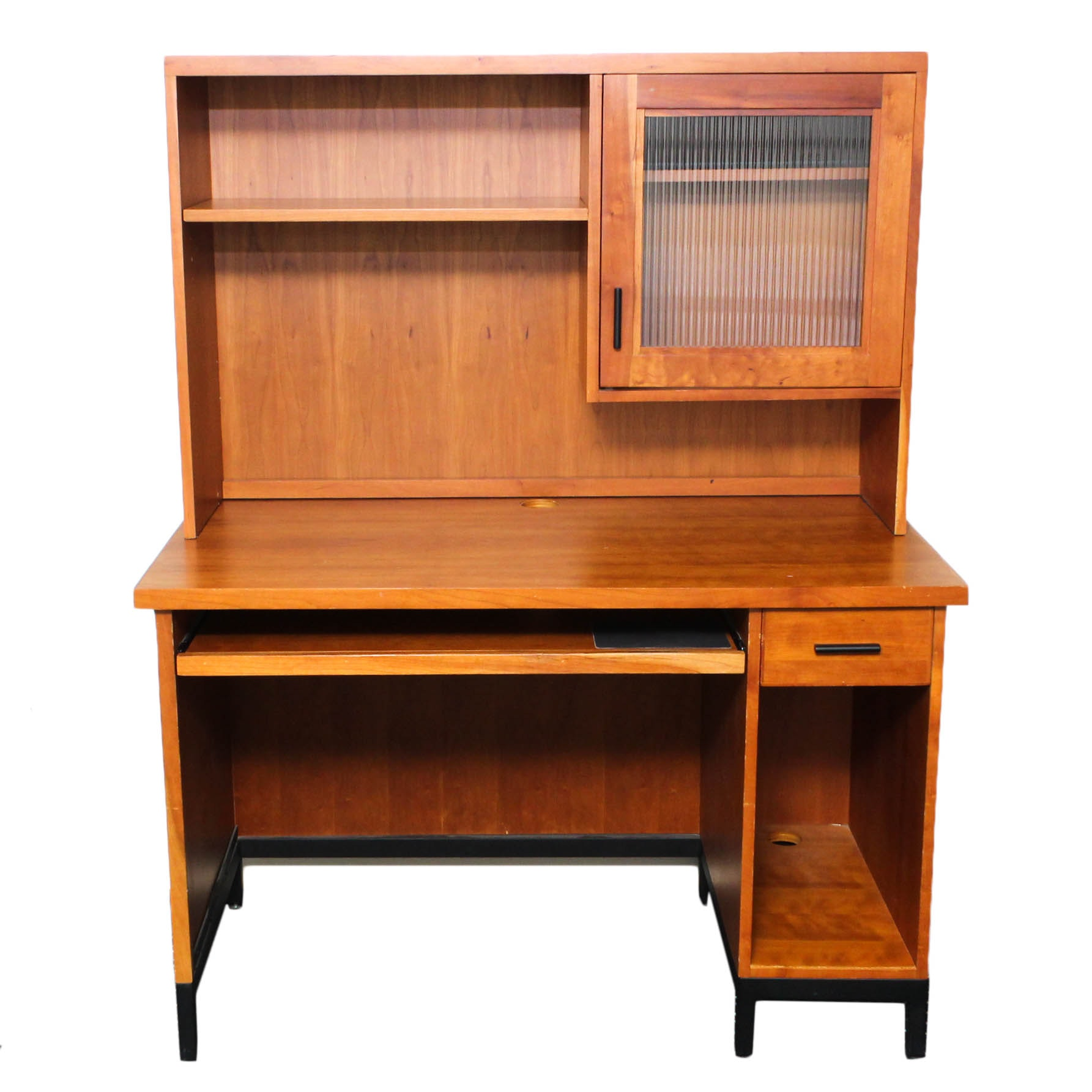 Contemporary Hardwood Veneer Computer Desk with Hutch