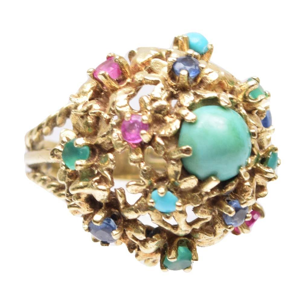 14K Yellow Gold Multi-Gemstone Cluster Ring
