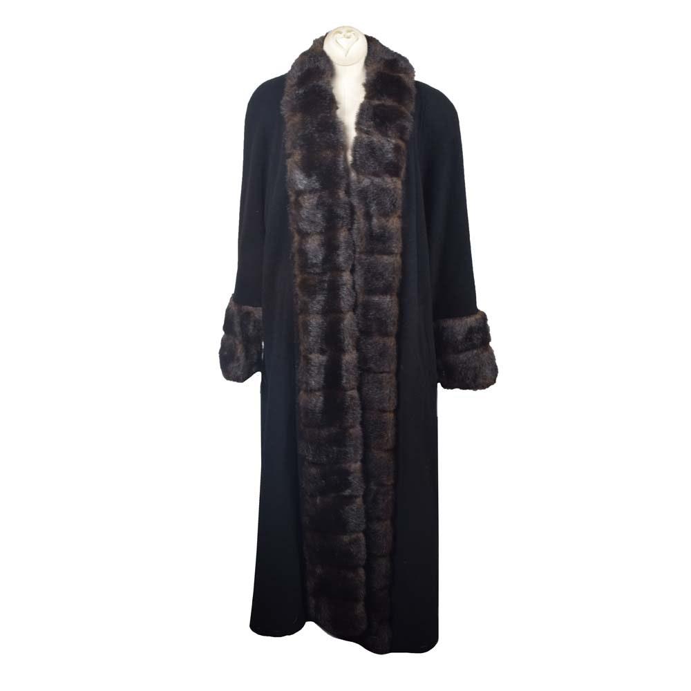Albert Nipon Wool and Faux Fur Full Length Coat