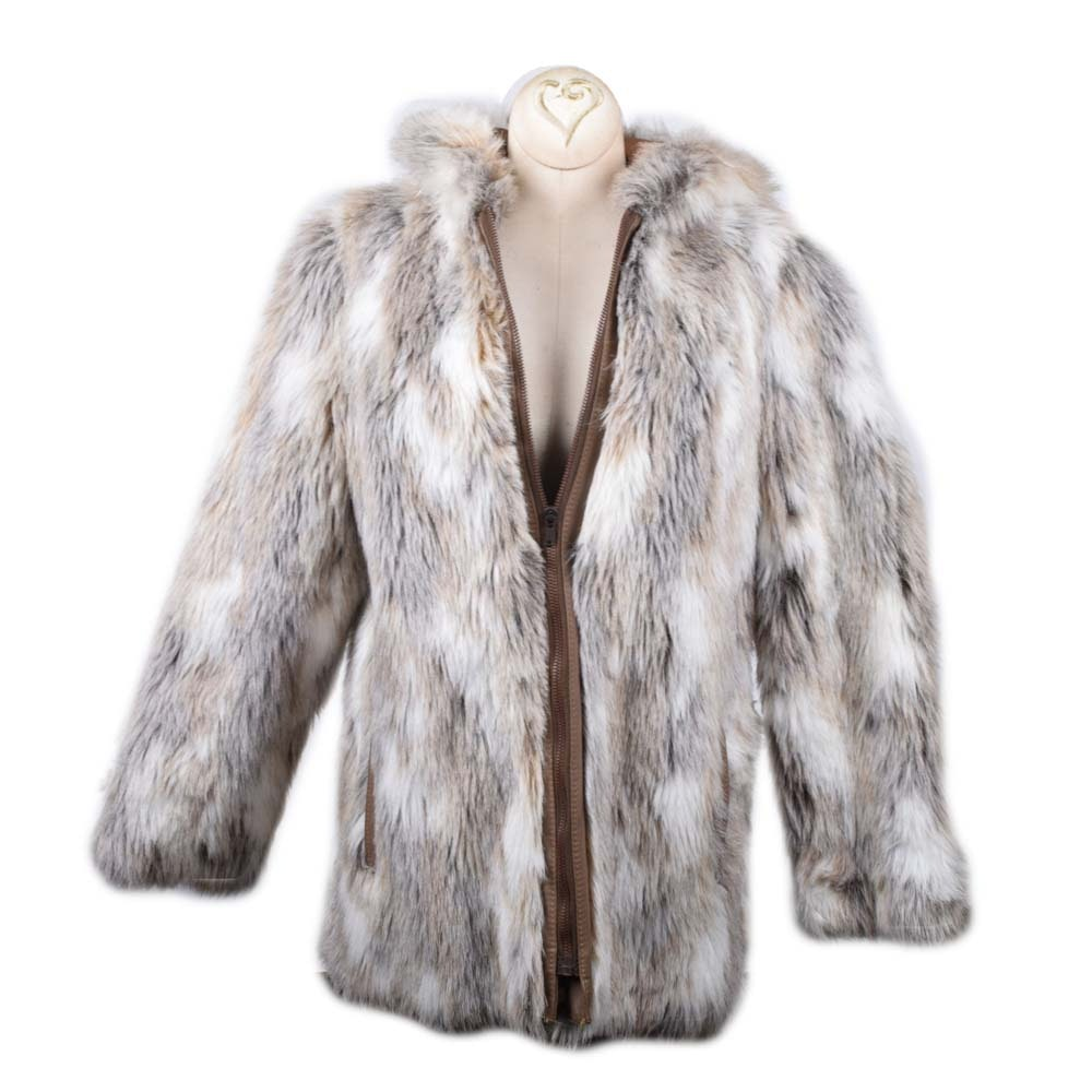 Women's Faux Coyote Fur Coat