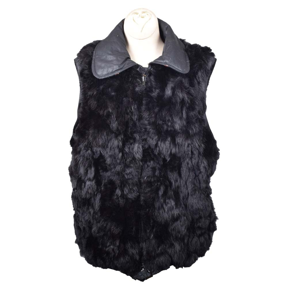 Women's Black Rabbit Fur Zipper-Front Vest