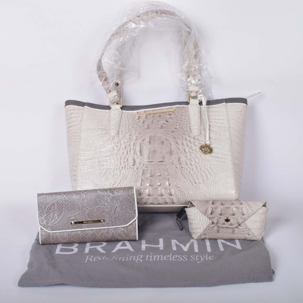 Brahmin Embossed Crocodile Arno Handbag with Wallet and Eyeglass Case