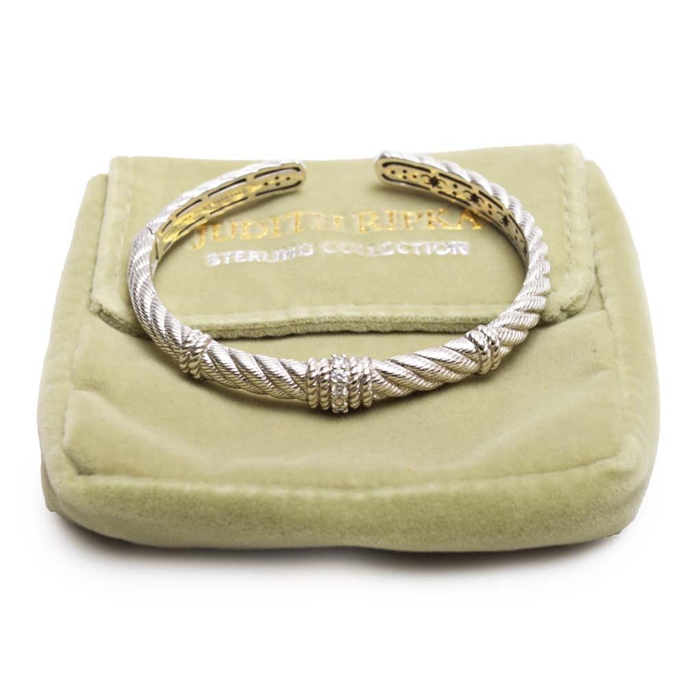 Judith Ripka Sterling Silver Cubic Zirconia Cuff Bracelet