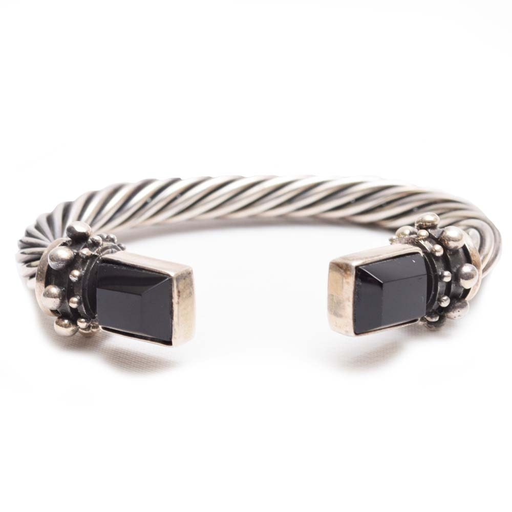 Sterling Silver Black Onyx Cable Cuff Bracelet