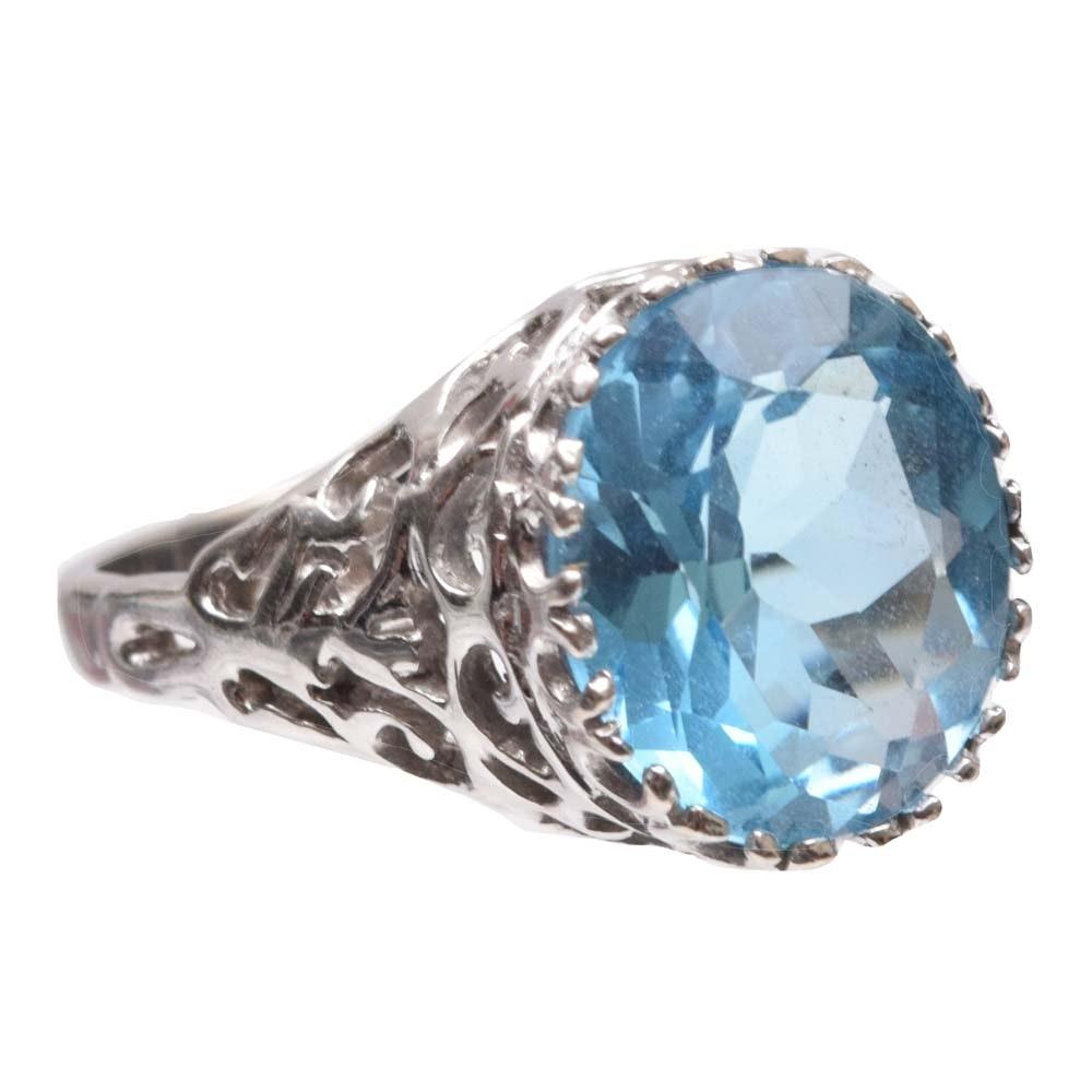 14K White Gold 5.35 CT Blue Topaz Ring