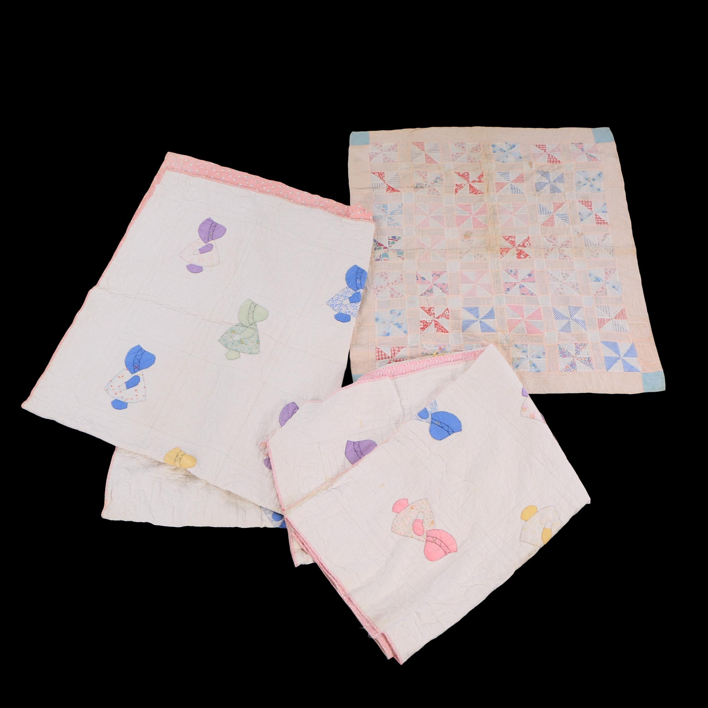 """Handmade """"Sunbonnet Sue"""" and """"Pinwheel"""" Quilts"""