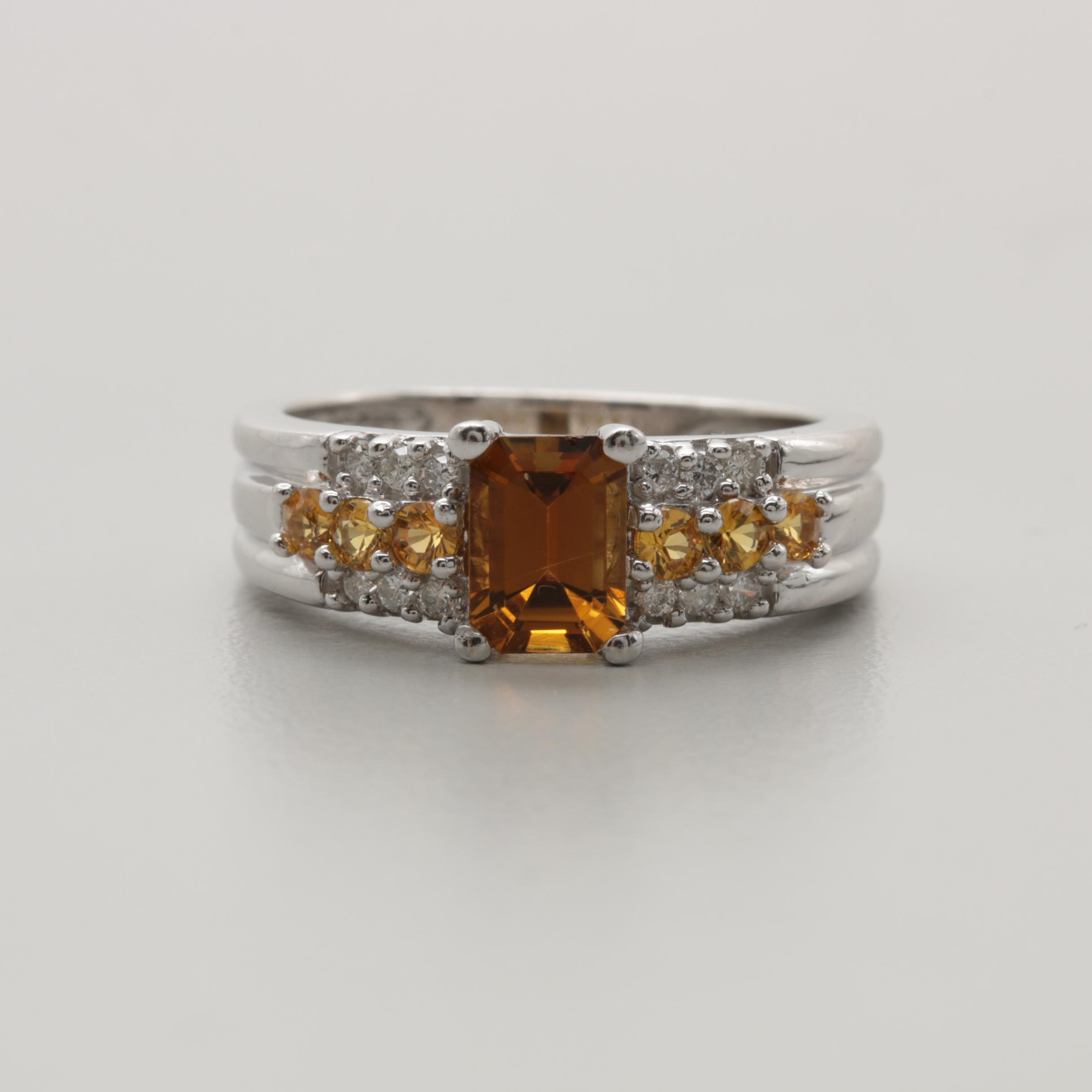 14K White Gold Andalusite, Yellow Sapphire, and Diamond Ring