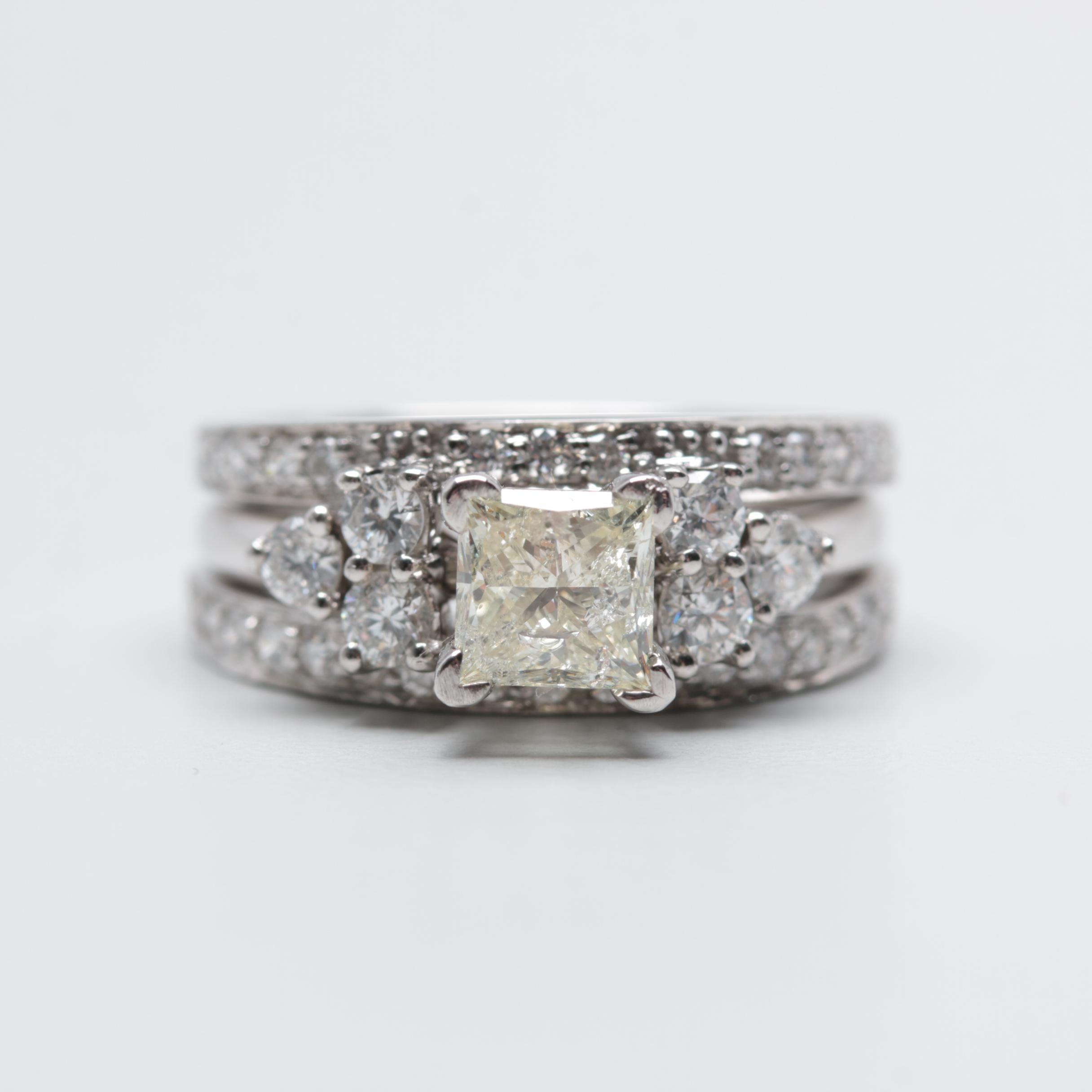 14K White Gold 1.61 CTW Diamond Three Ring Bridal Set