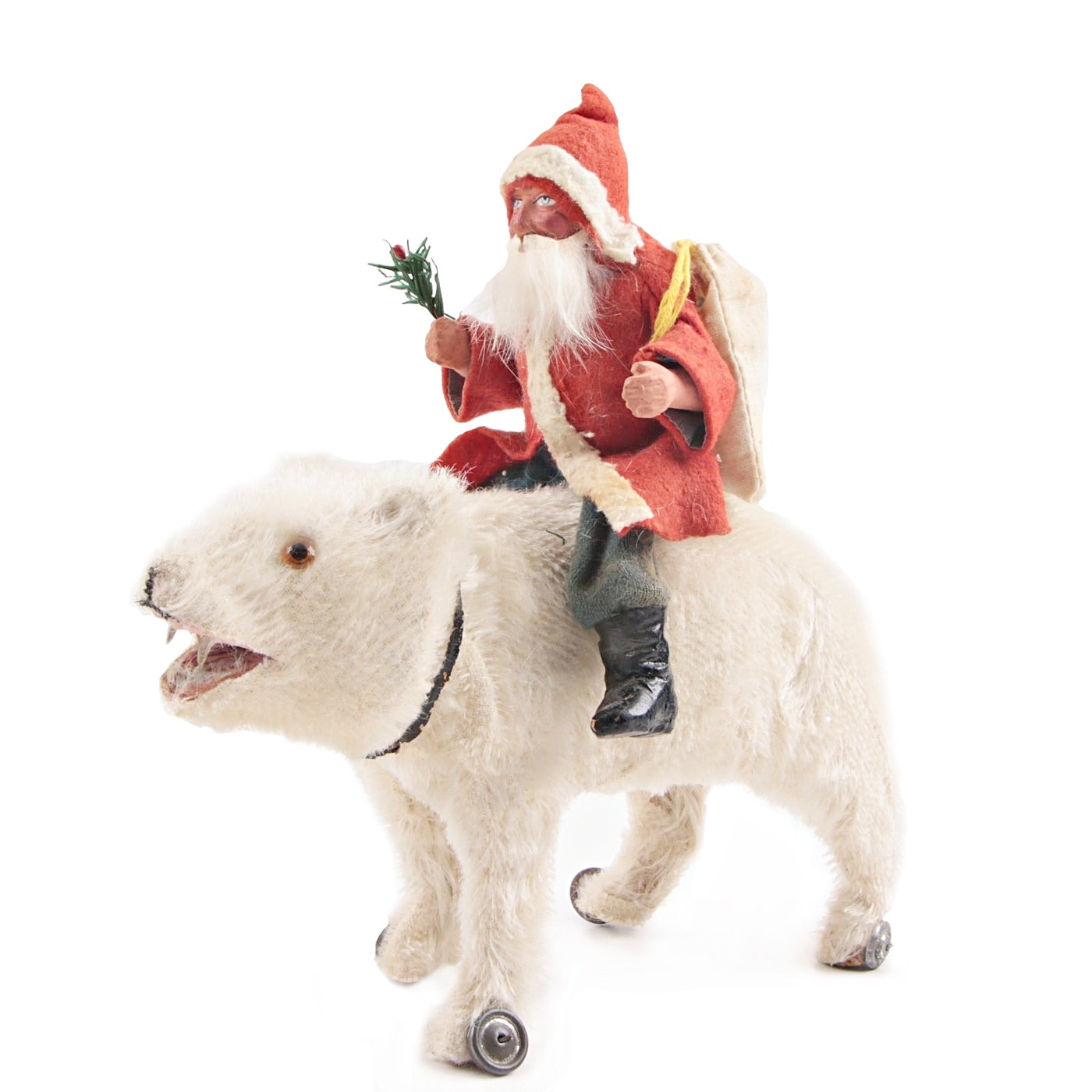 Antique German Belsnickle Riding A Mohair Polar Bear