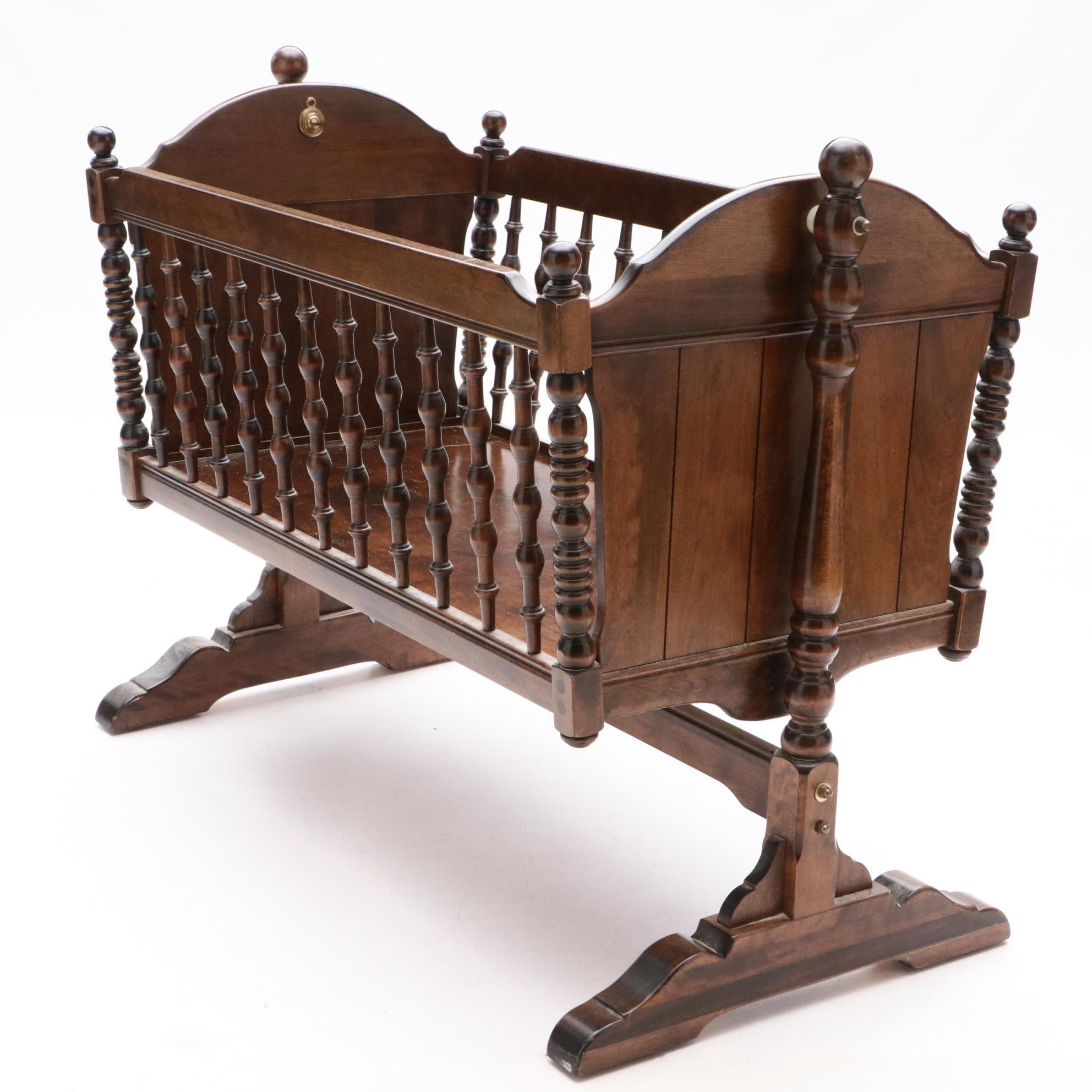 Walnut Baby Cradle on Trestle Base, Late 20th Century