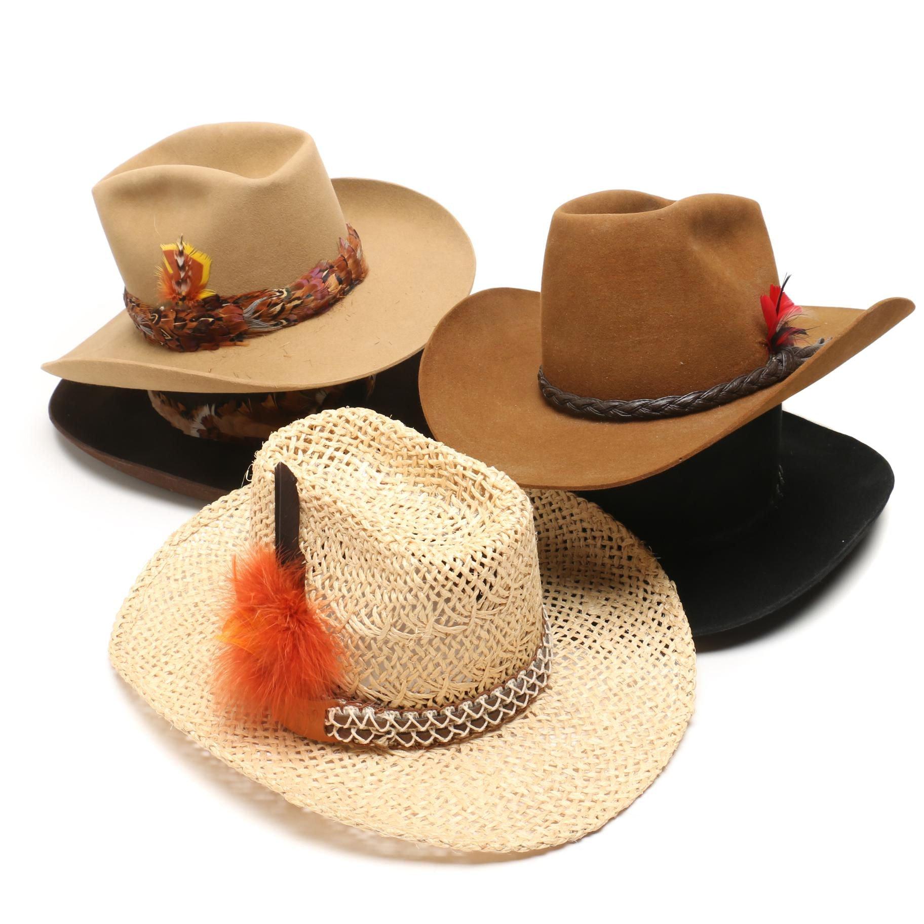 Men's Western Style Hats Including Batsakes Bros