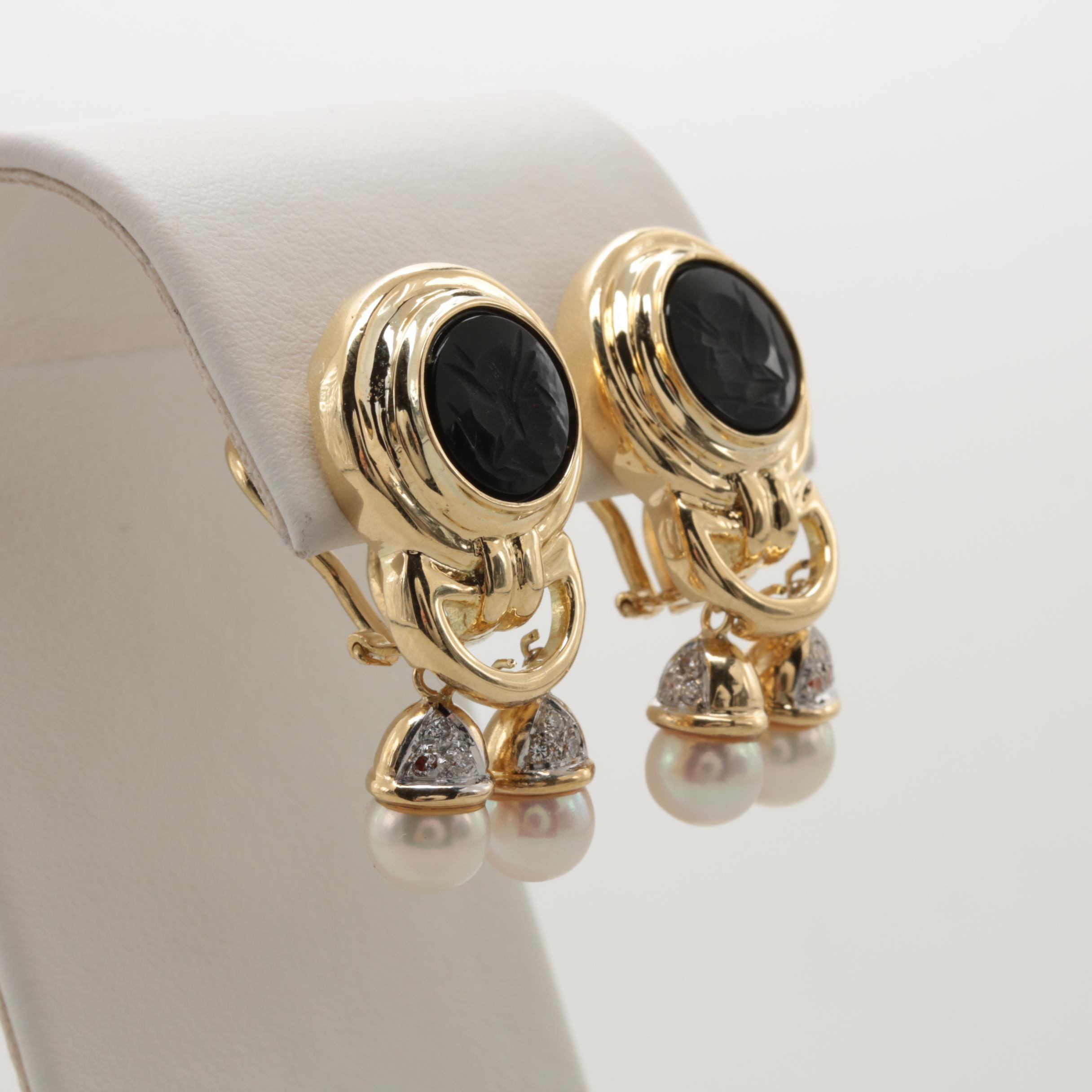 14K Yellow Gold Cultured Pearl, Diamond and Black Onyx Intaglio Earrings