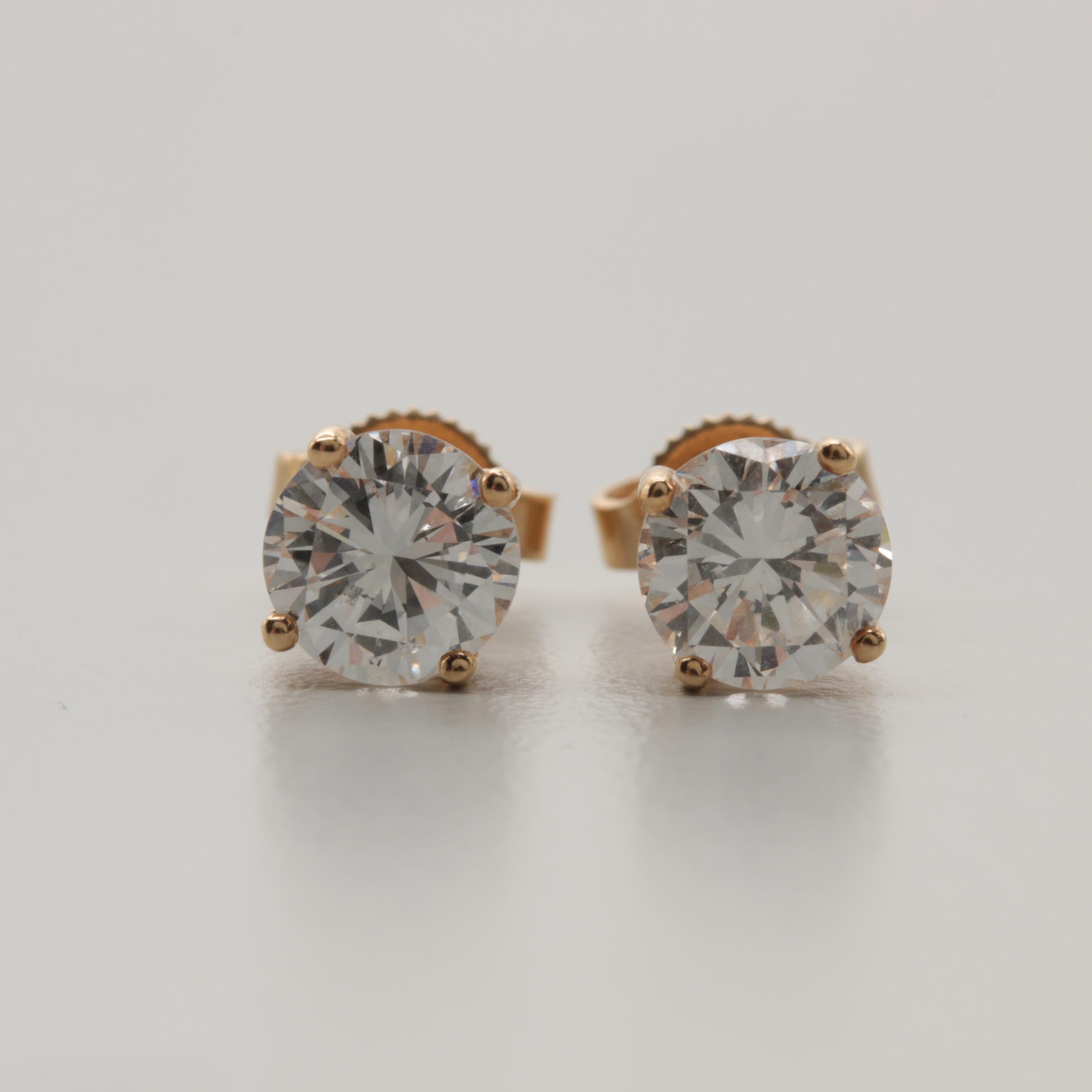 14K Yellow Gold 1.66 CTW Diamond Stud Earrings