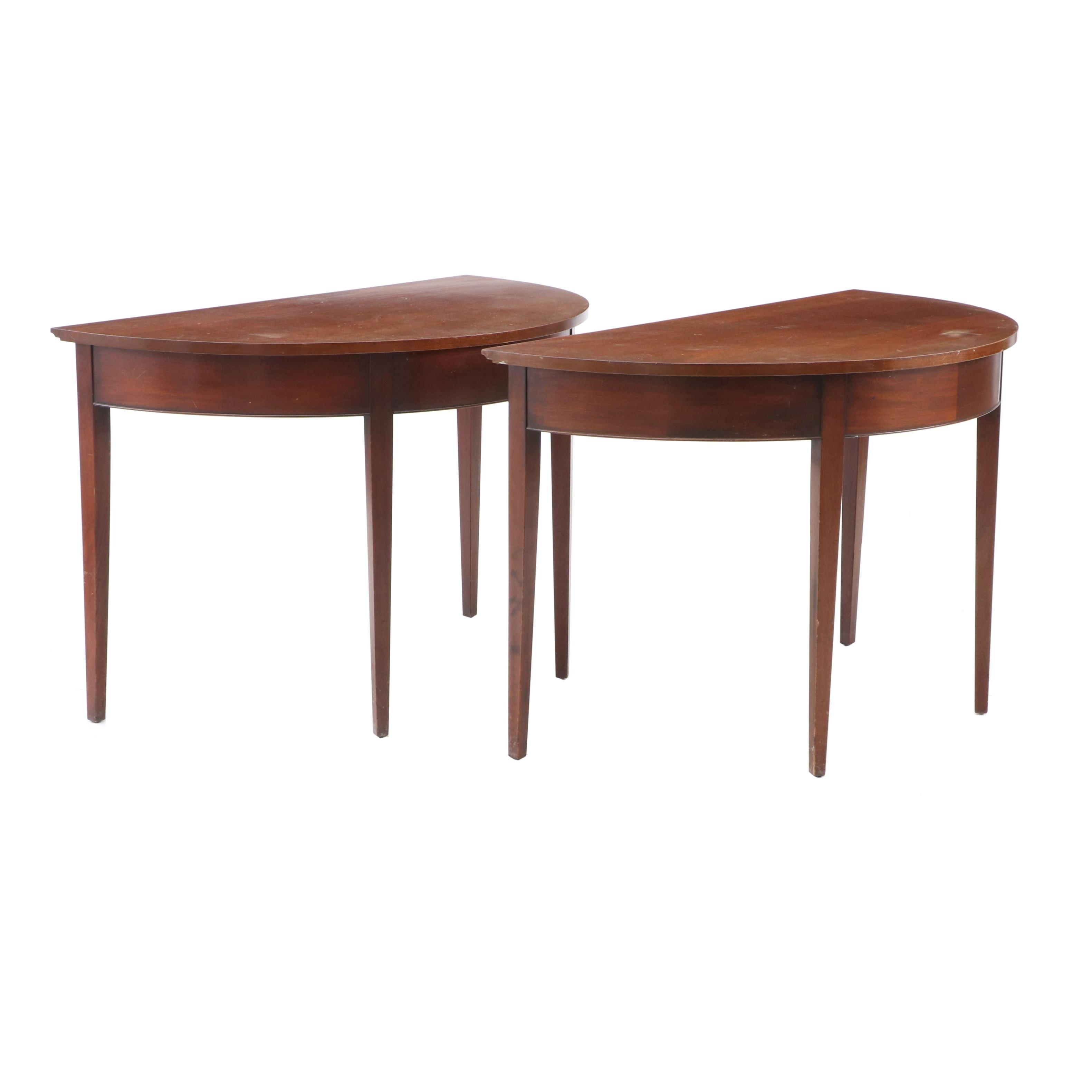 Federal Style Mahogany Veneer Demilune Tables, Mid-20th Century