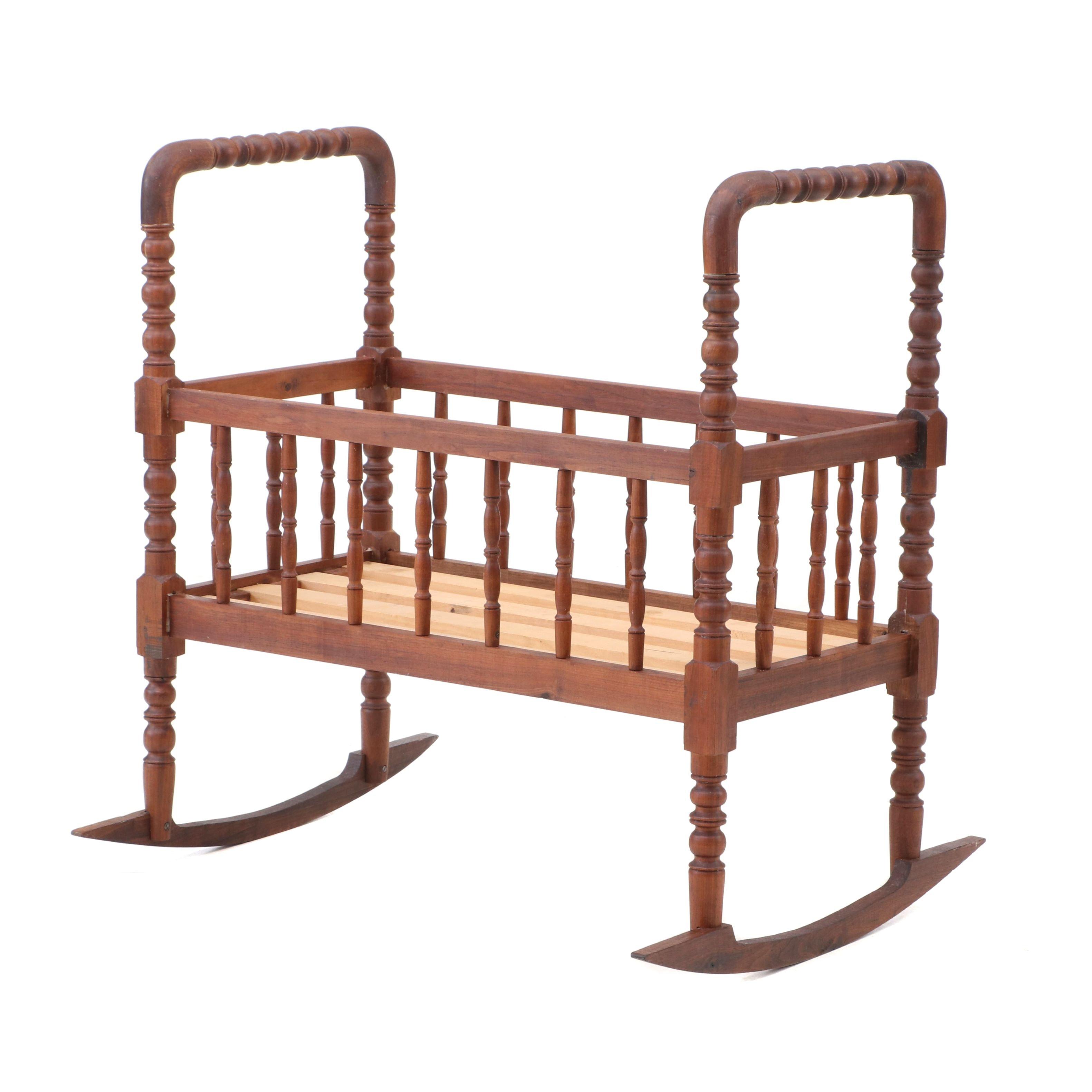 Jenny Lind Style Walnut Cradle, 20th Century