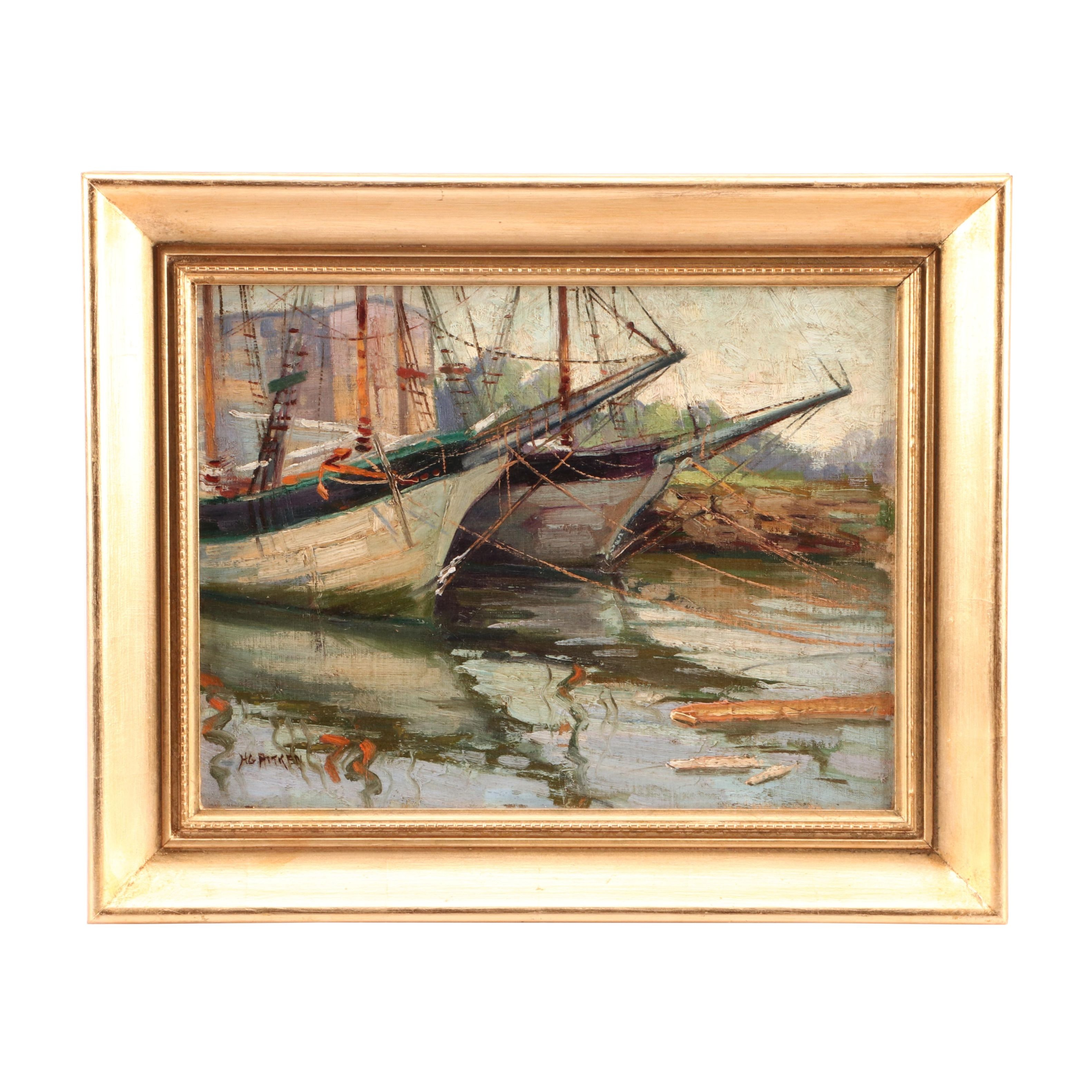 Harry Aitken Oil Painting of Harbor Scene