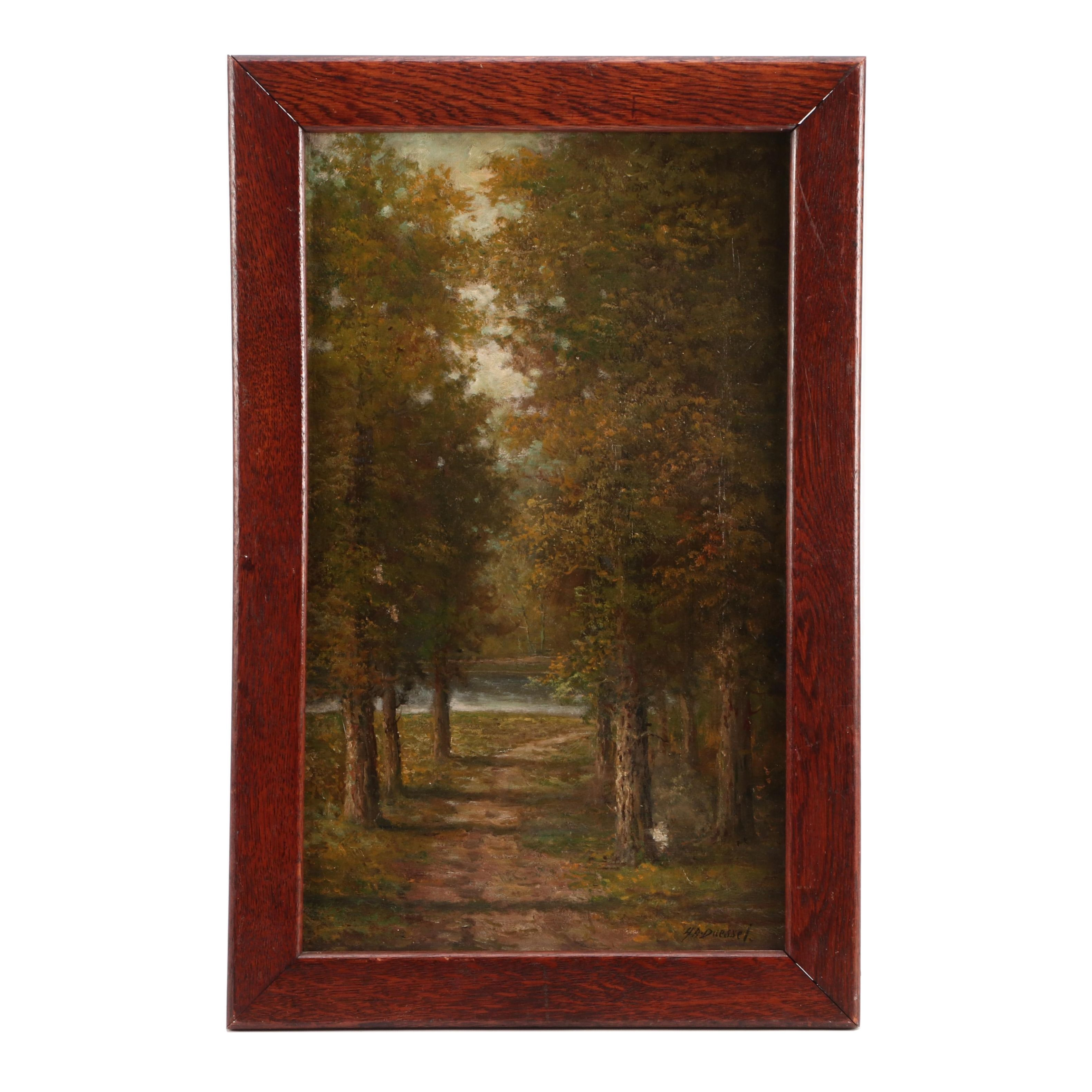 Henry A. Duessel Oil Painting of Forest Scene