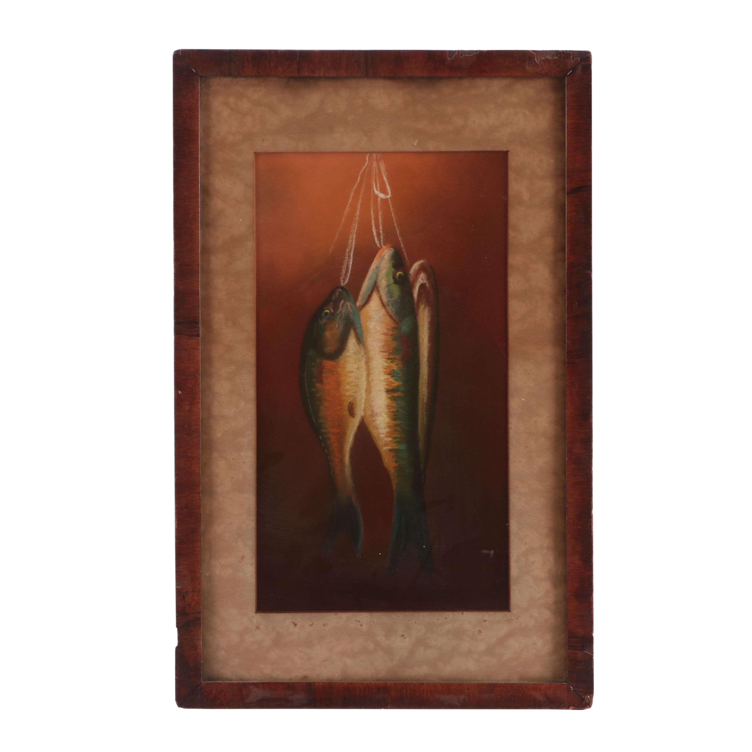 Turn-of-the-Century Game Fish Still Life Pastel Drawing