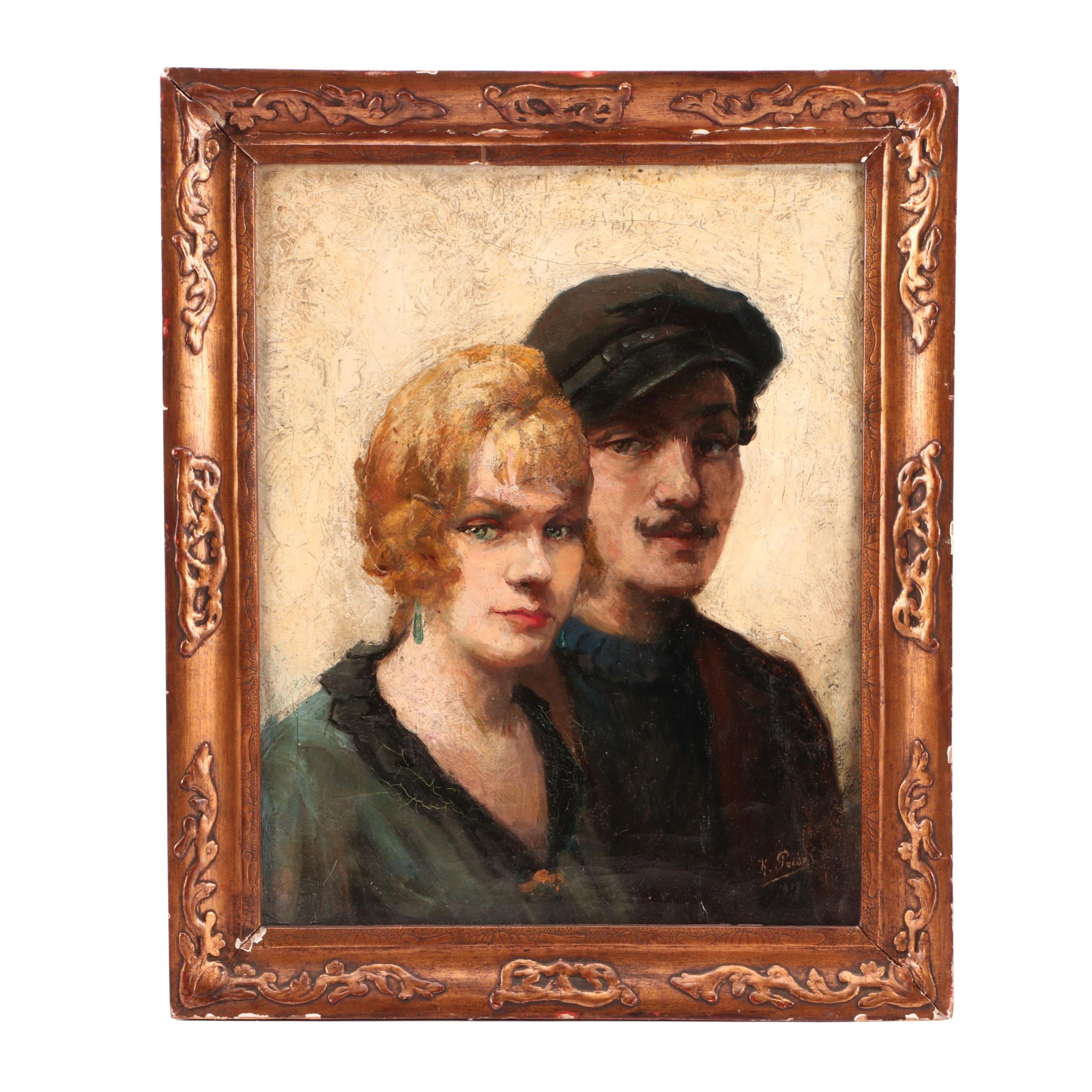 Kurt Peiser 1917 Oil Double-Portrait Painting