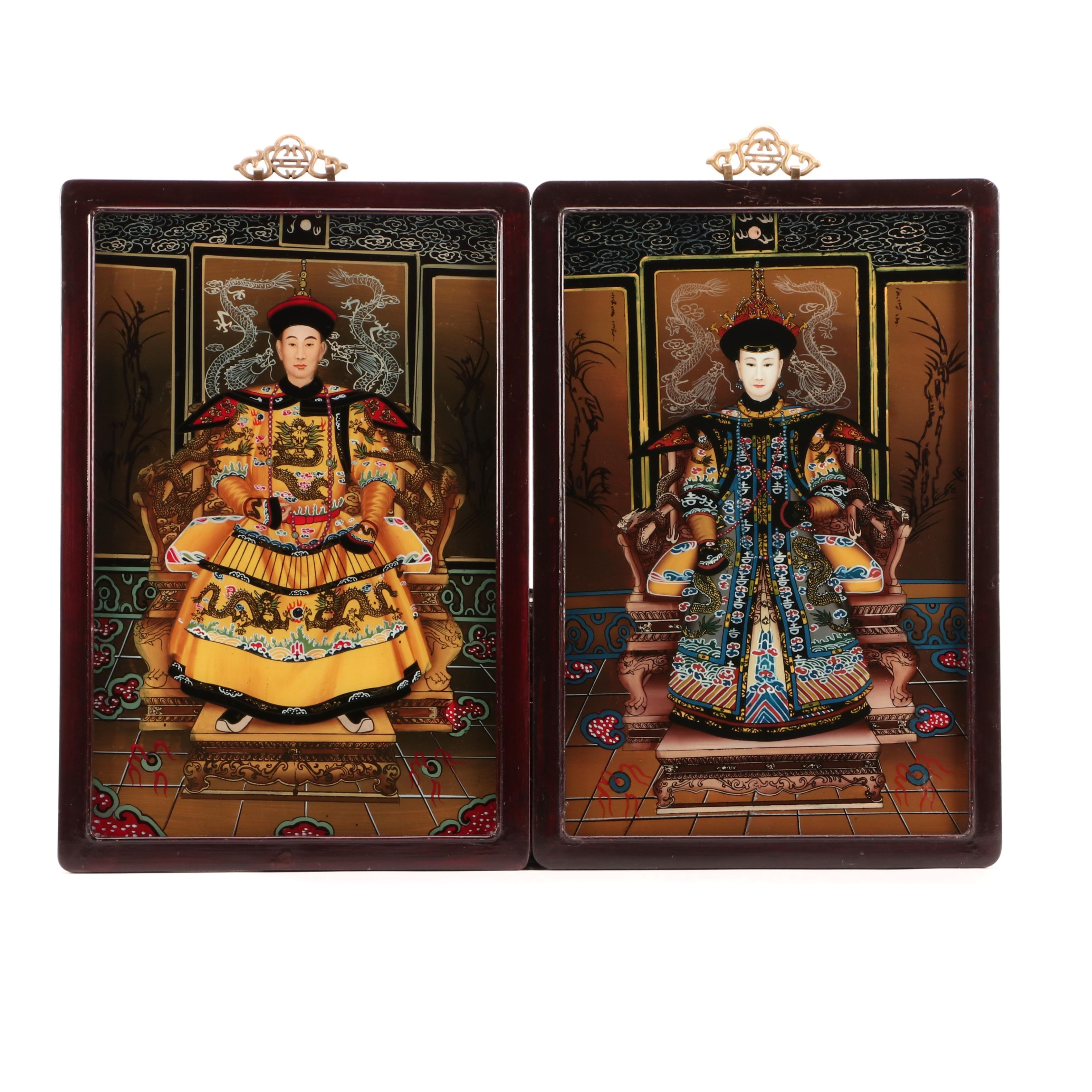 Reverse-Glass Chinese Emperor and Empress Portrait Paintings