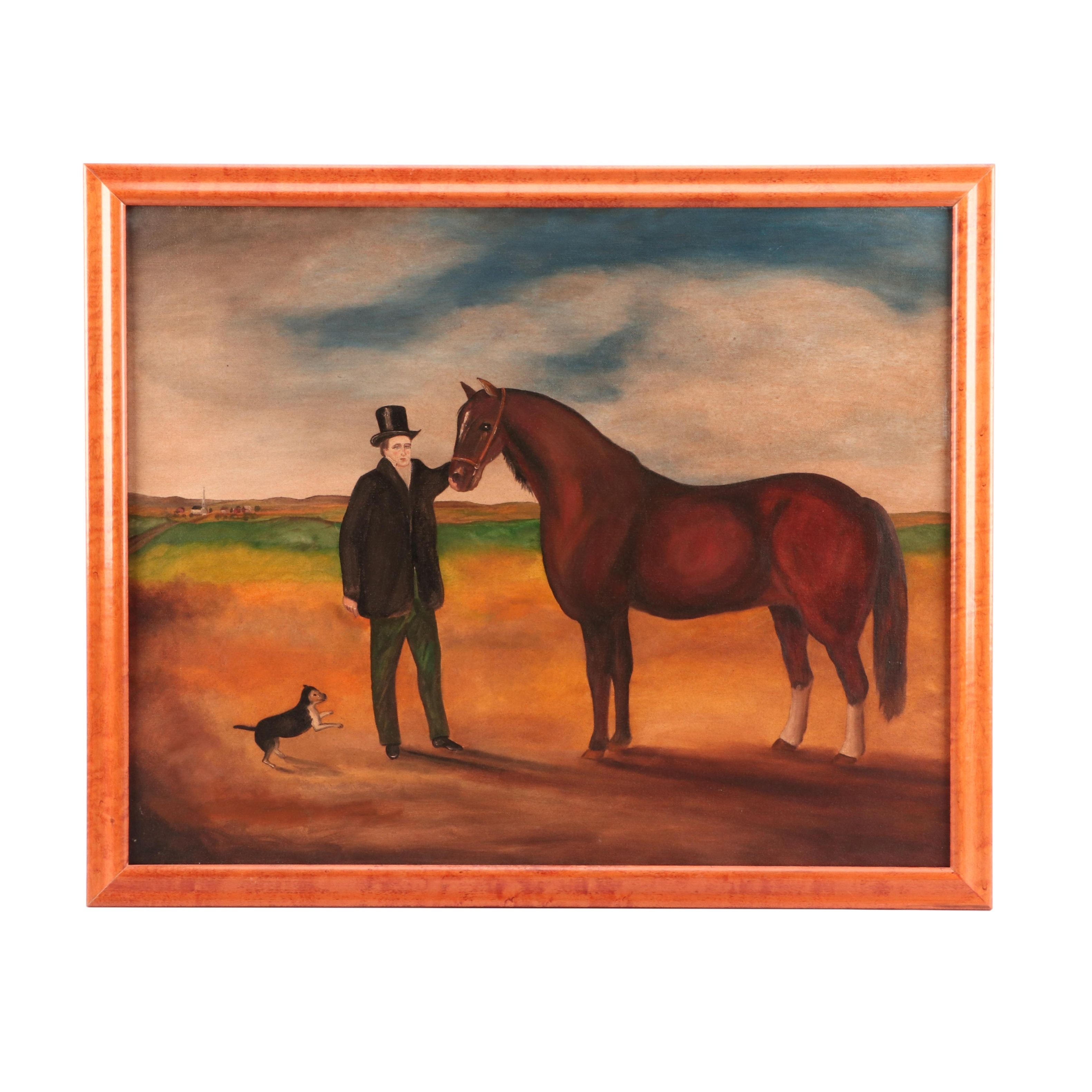 Mid to Late 20th-Century Naïve Oil Painting of Man and Horse