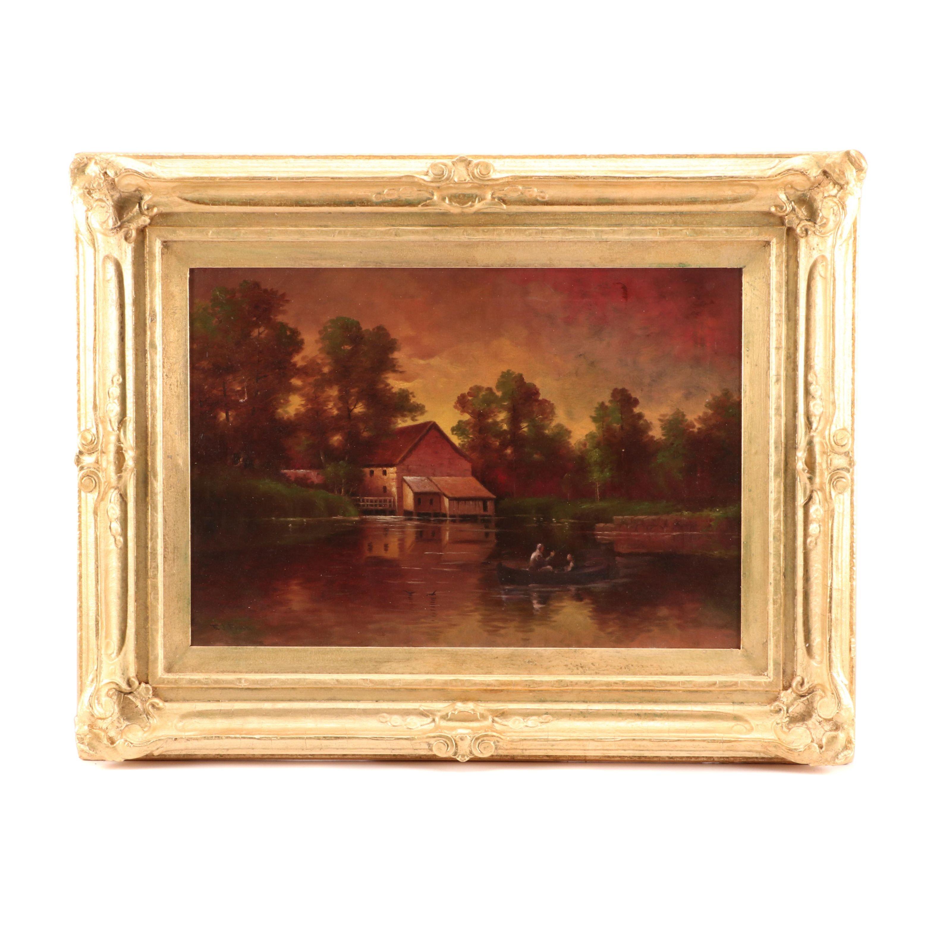 "Eldridge J. Fenn Oil Painting ""Pine Side Cabin, Upstate New York"""
