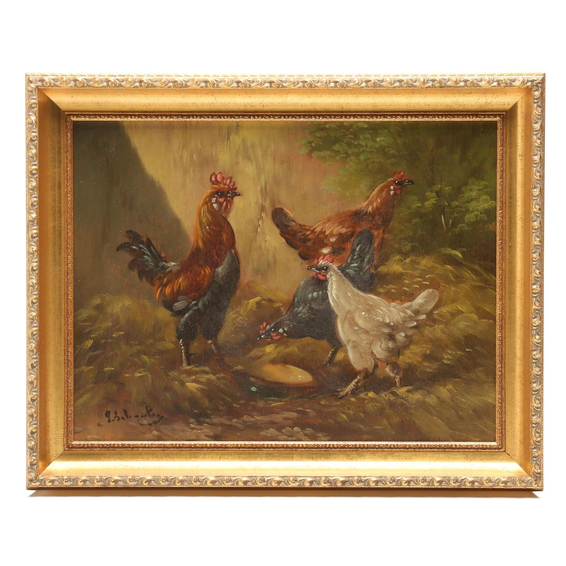 Late 19th-Century Barnyard Genre Oil Painting
