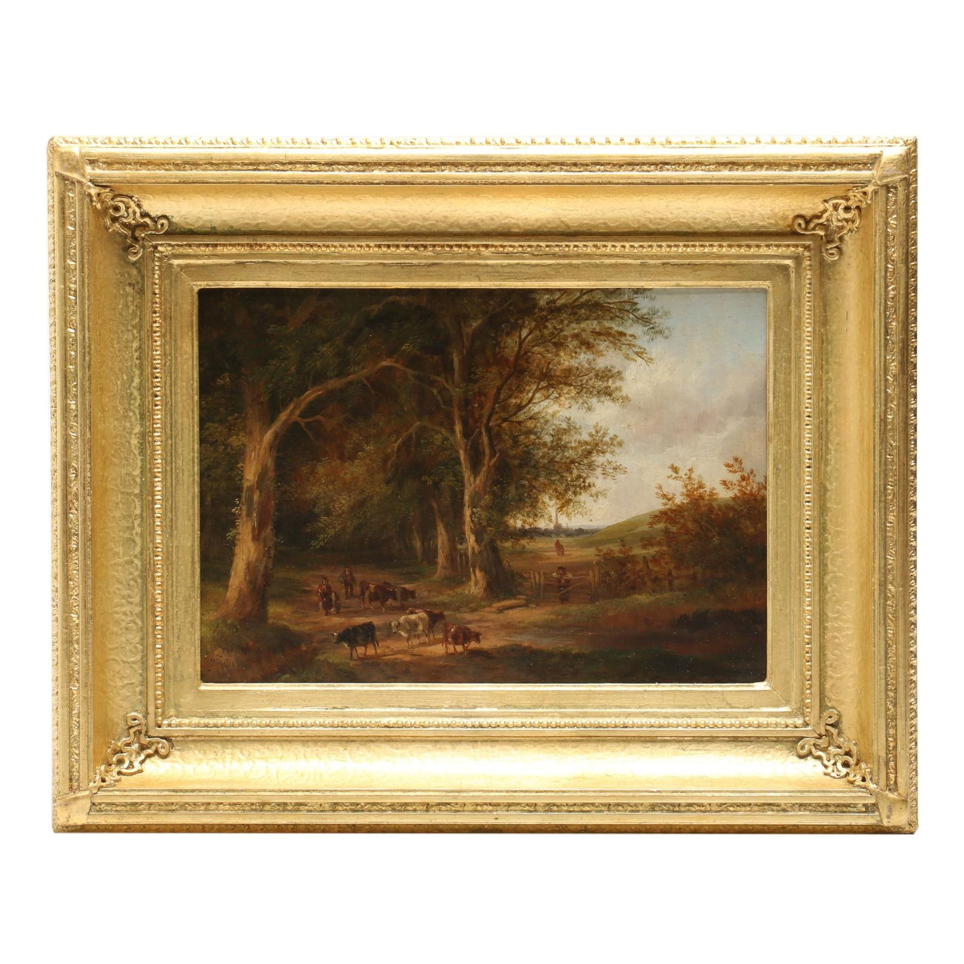 Late 19th-Century Luminist Pastoral Landscape Oil Painting
