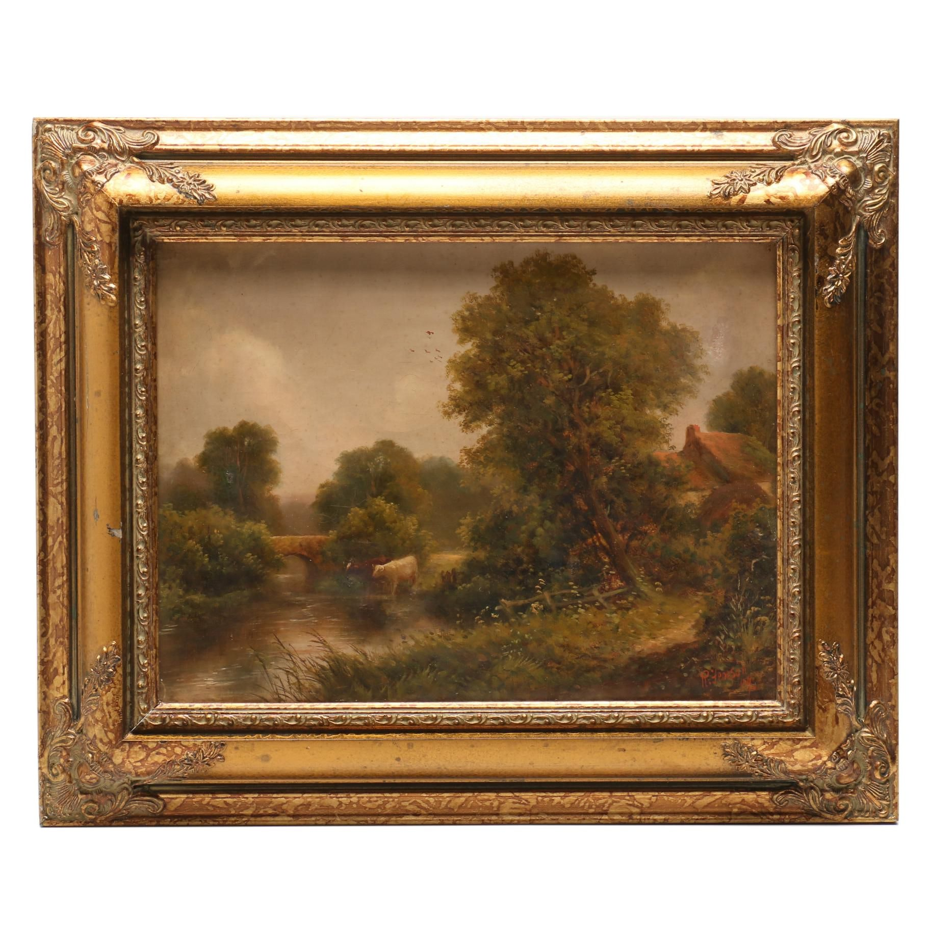 Robert Robin Fenson 1904 Oil Painting of Pastoral Scene with Cattle
