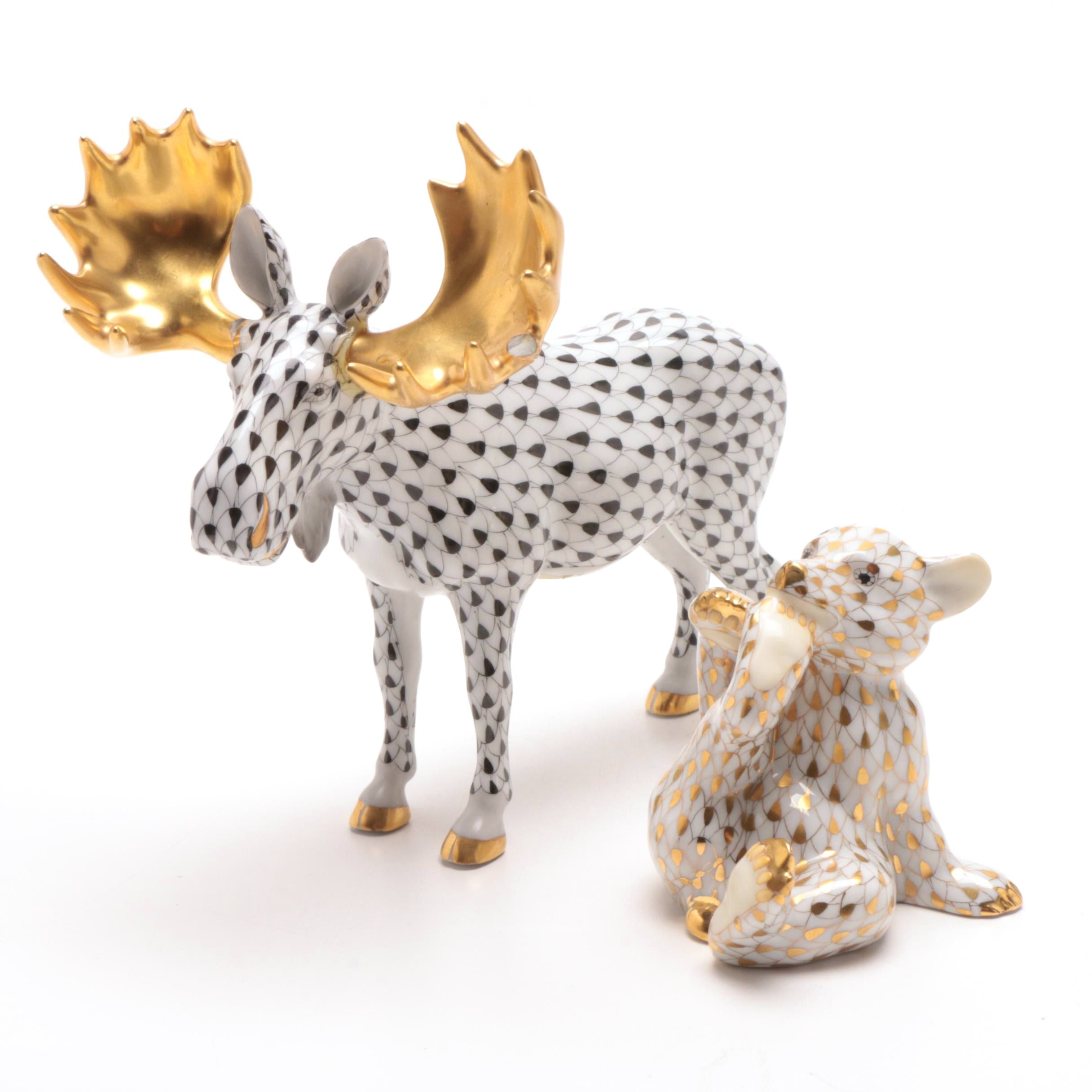 Herend Hungary Moose and Bear Cub Figurines