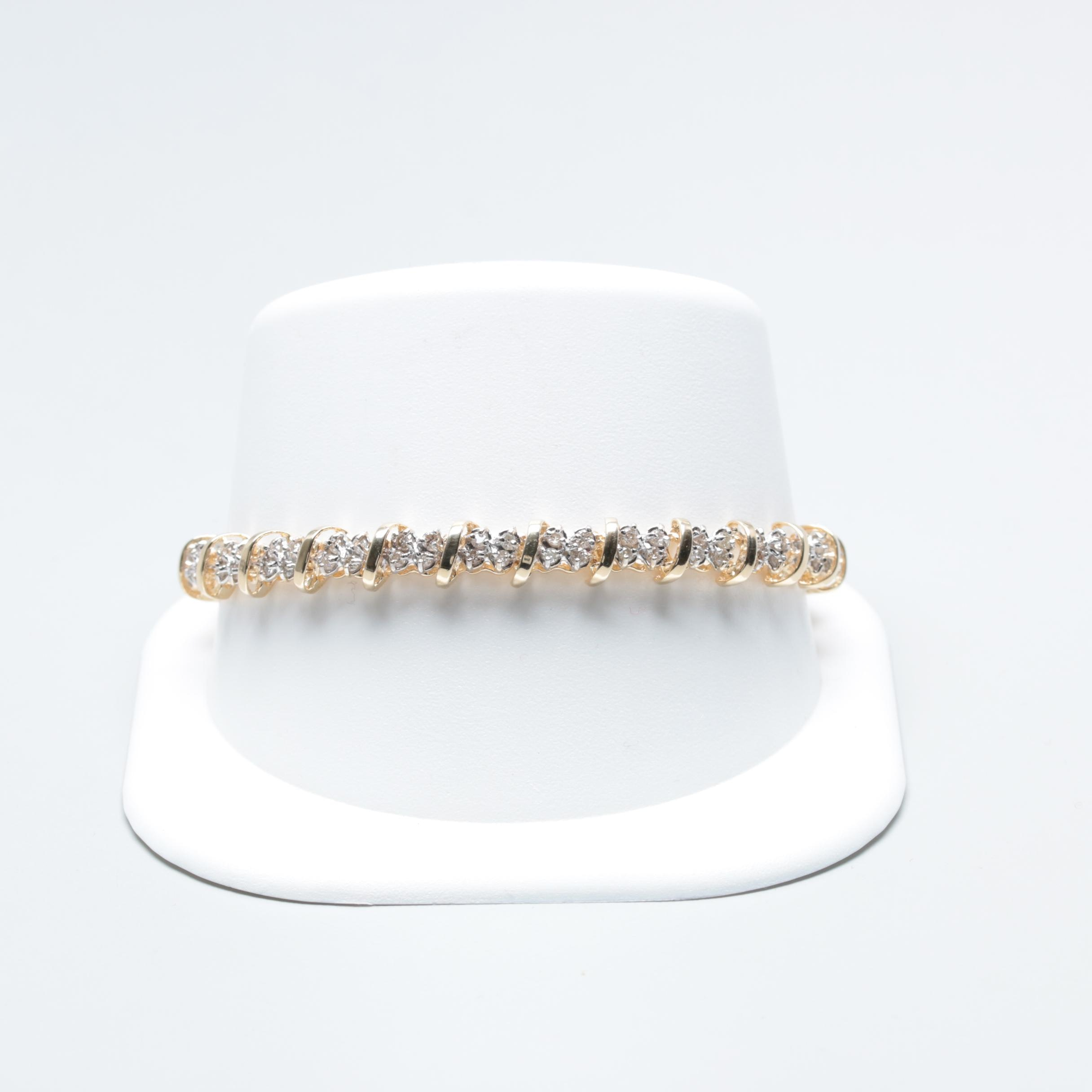 10K Yellow and White Gold 2.50 CTW Diamond Bracelet