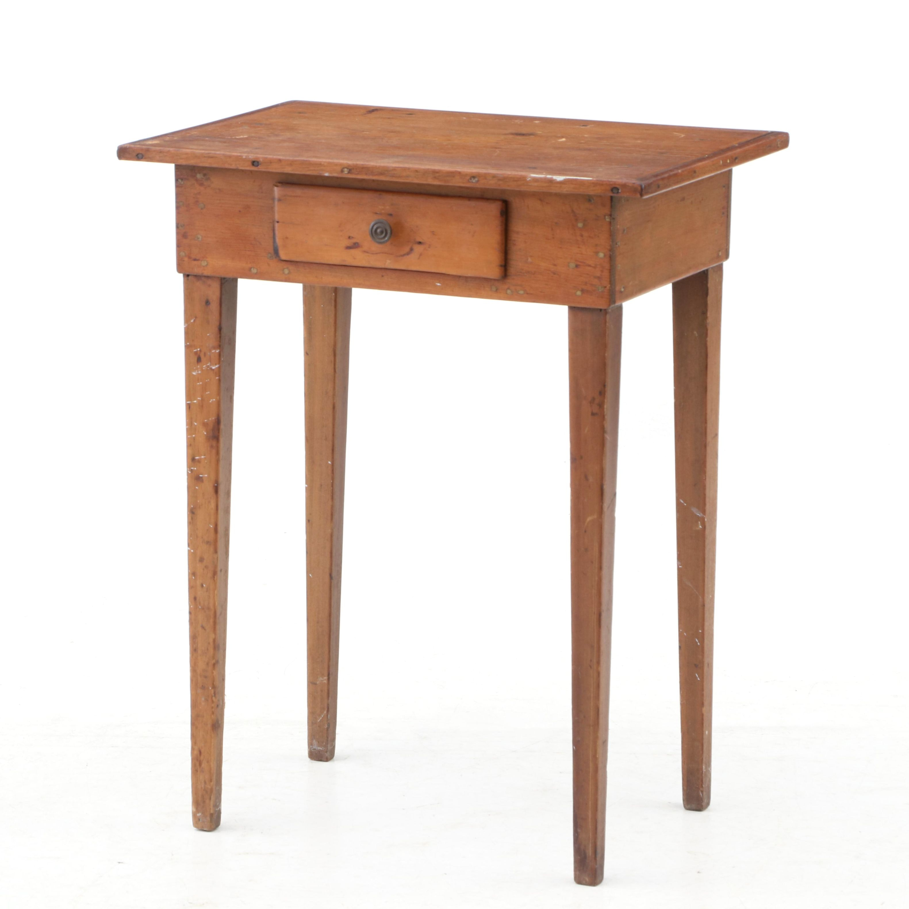 Poplar Table with Drawer, Early 19th Century