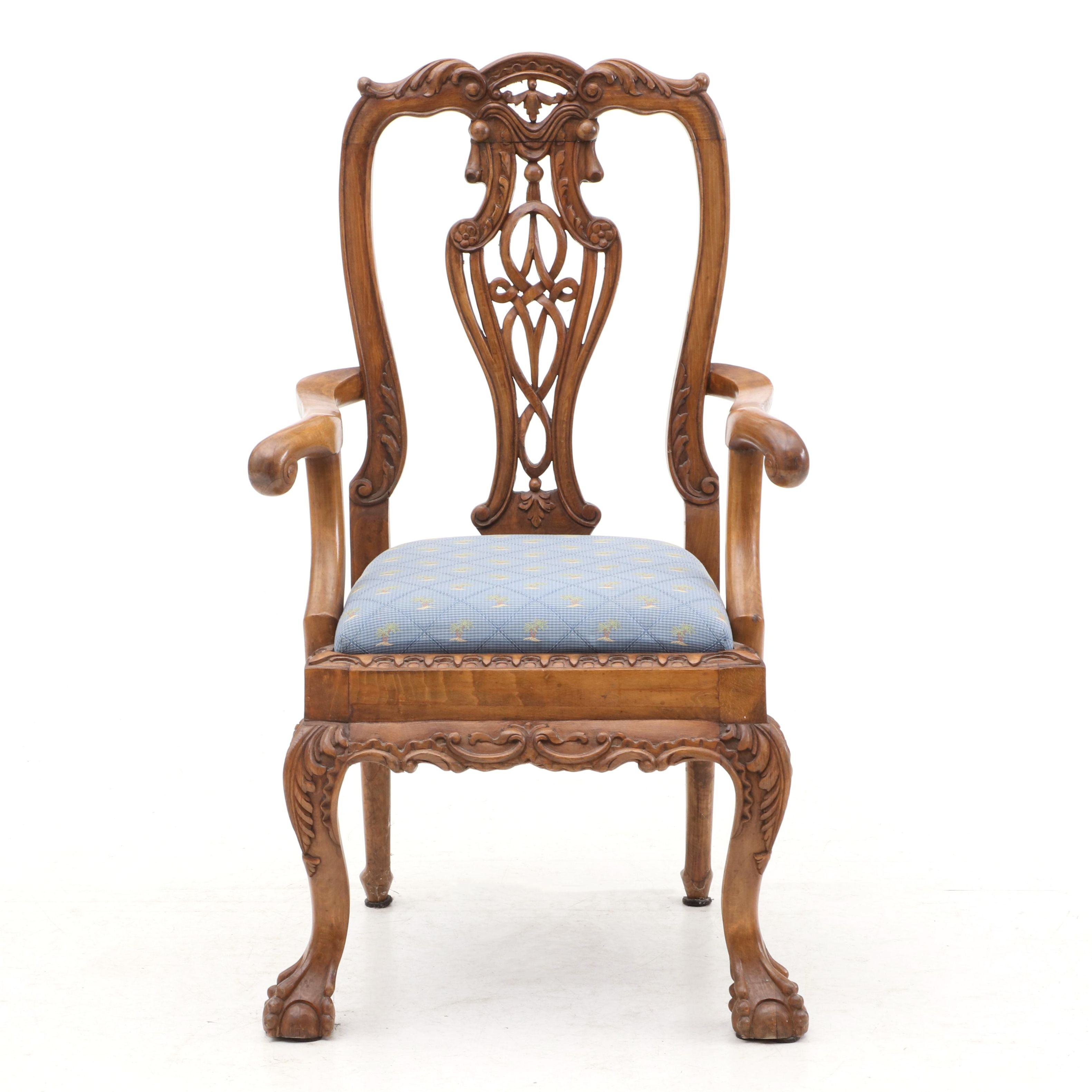 Carved Rococo Style Arm Chair in Walnut