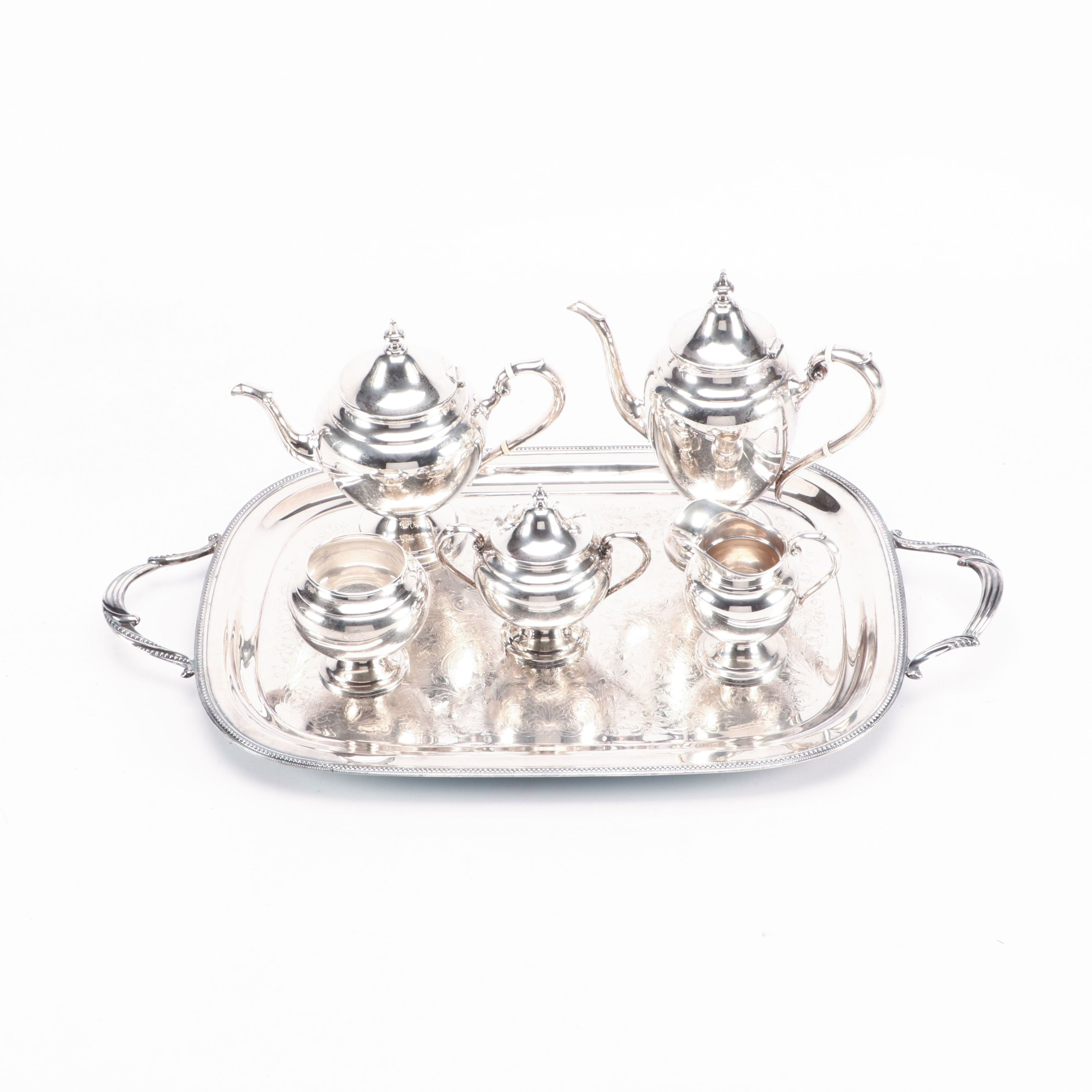 "Gorham ""Puritan"" Sterling Silver Tea and Coffee Service With Silver Plate Tray"