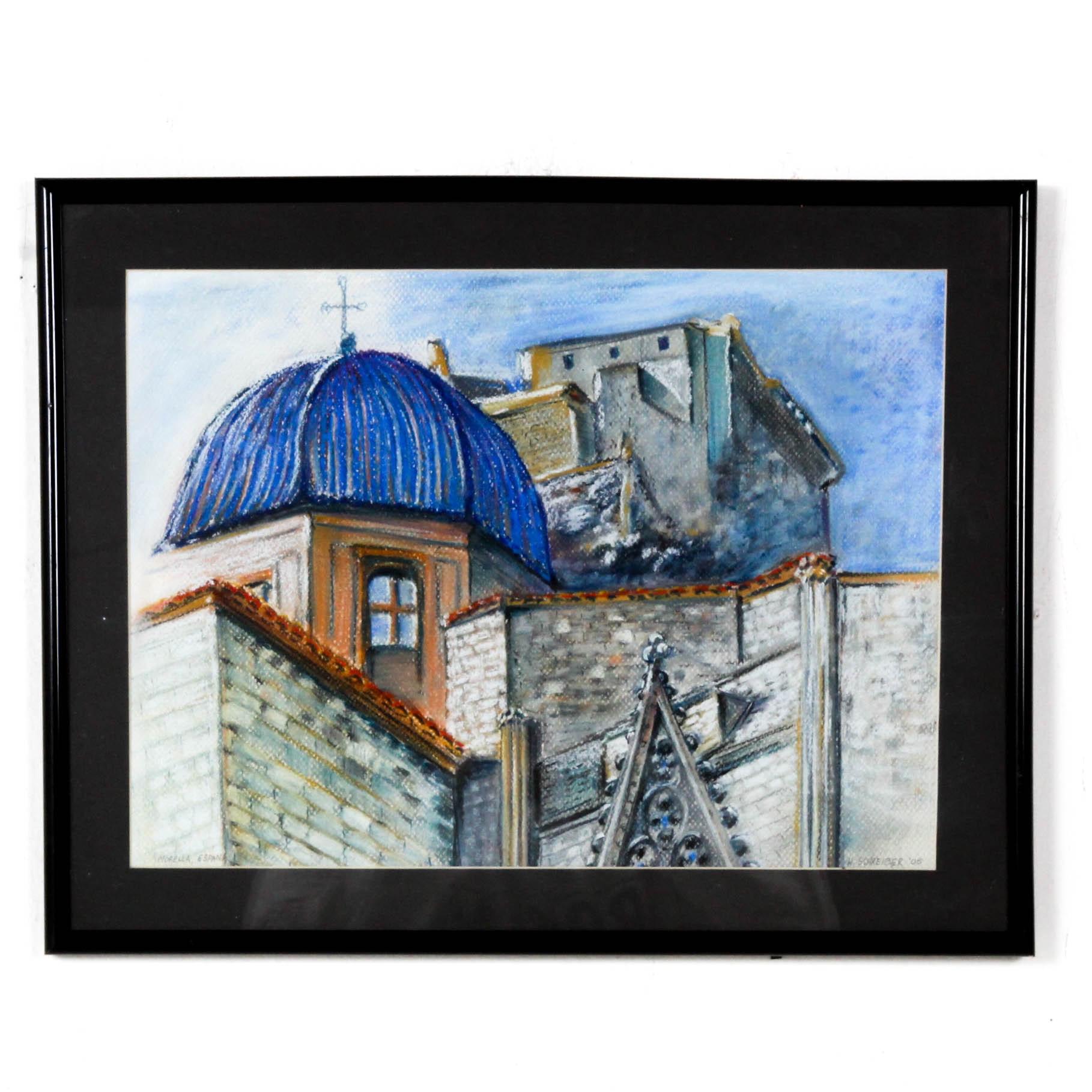 "H. Schreiber Oil Pastel Drawing ""Morella, Espana"""