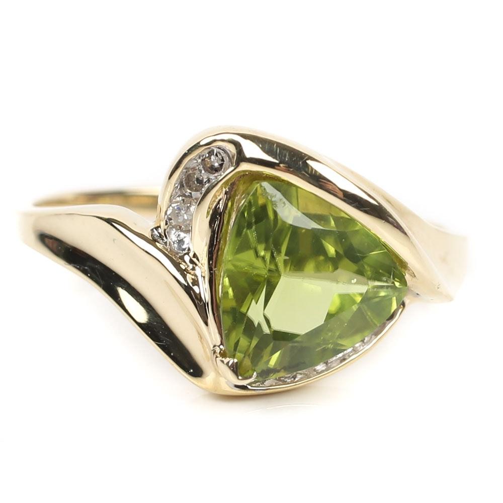 10K Yellow Gold 2.00 CT Peridot and Diamond Ring